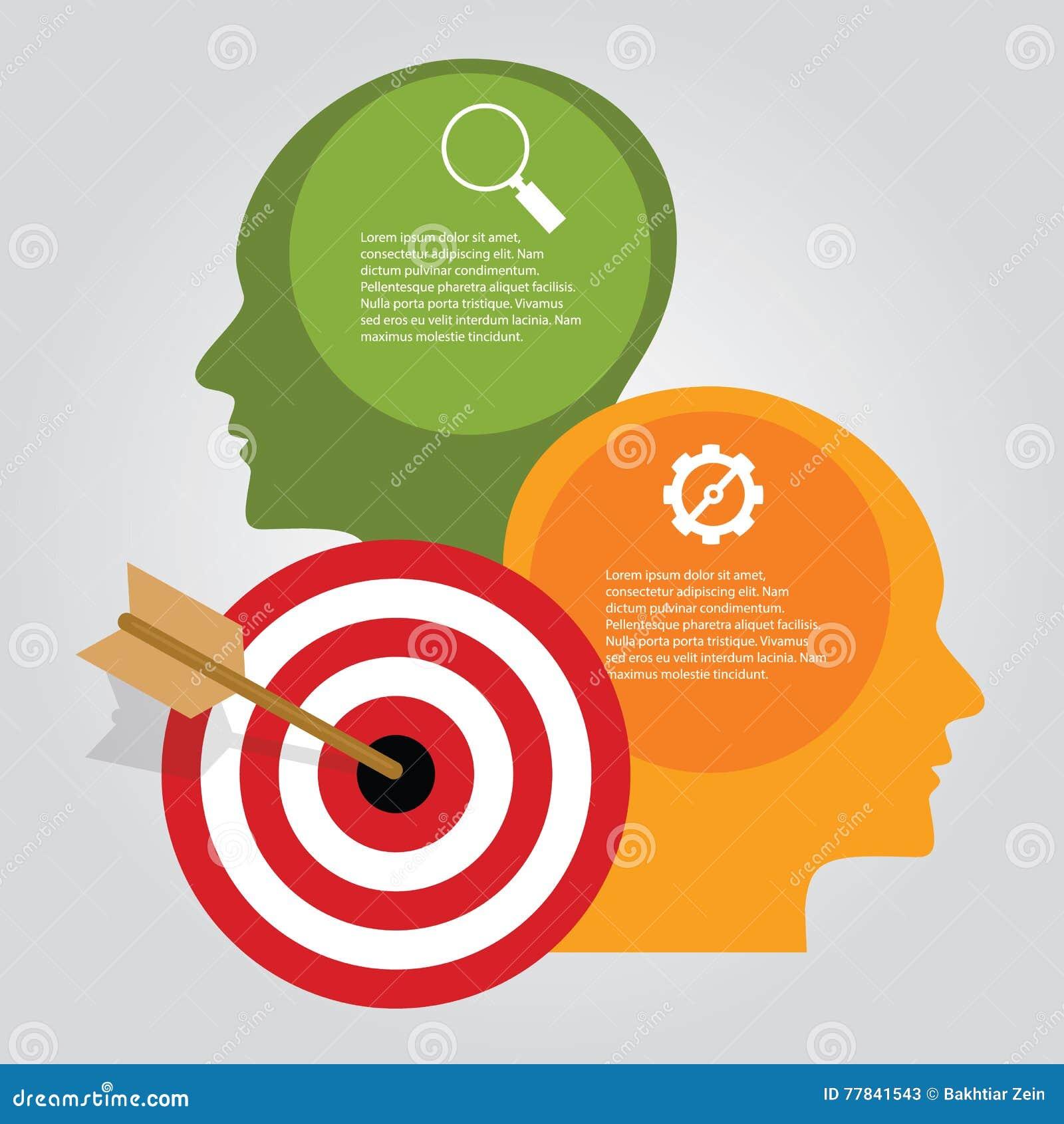 Begreppet för pilen för brädet för pilen för affärsmålet heads det infographic av målprestationen att tänka