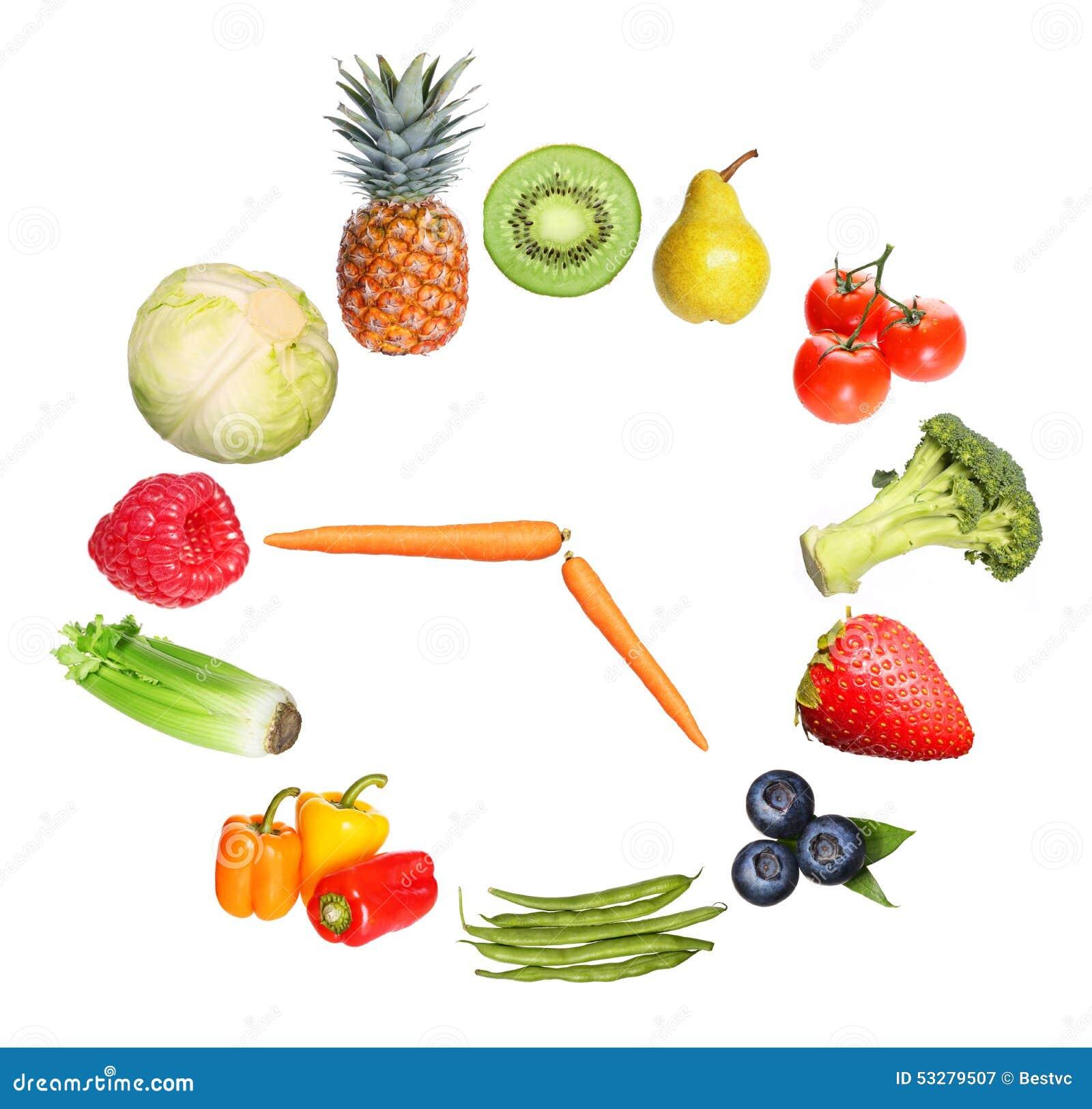 Begreppsfrukter och grönsaker tar tid på isolerat på vit