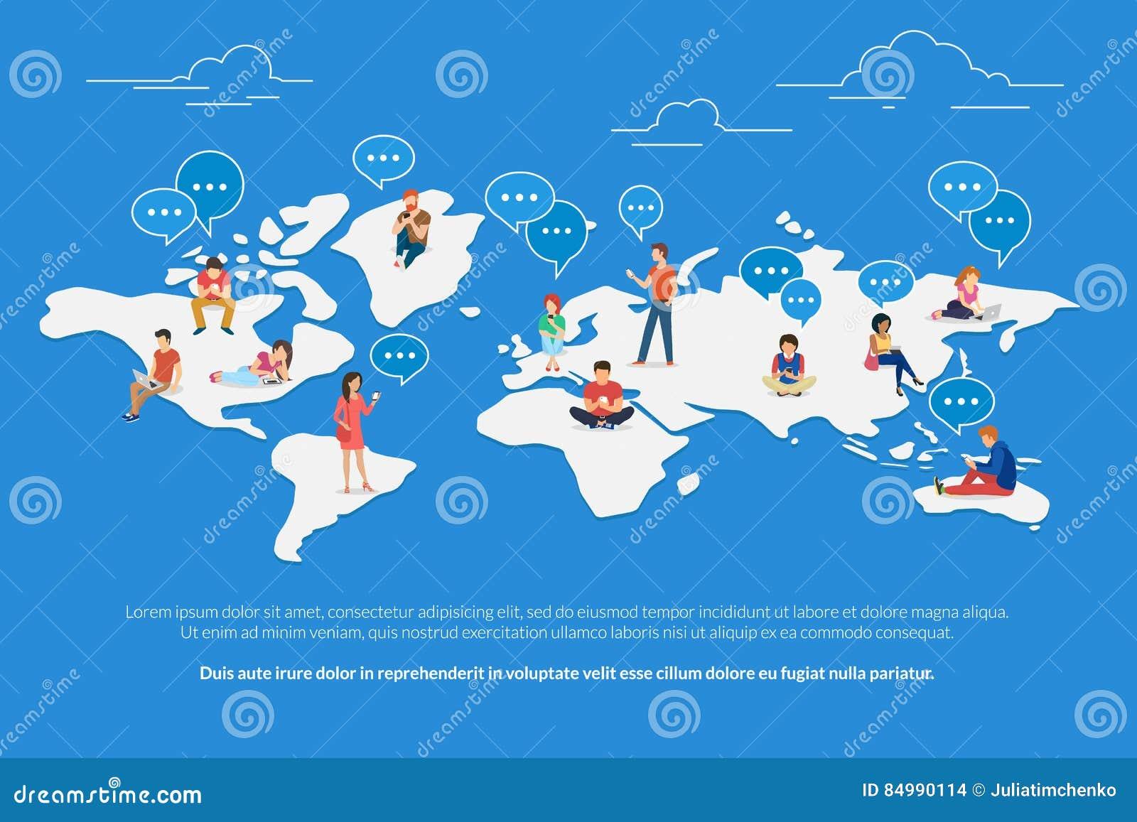 Begreppsillustration för global kommunikation