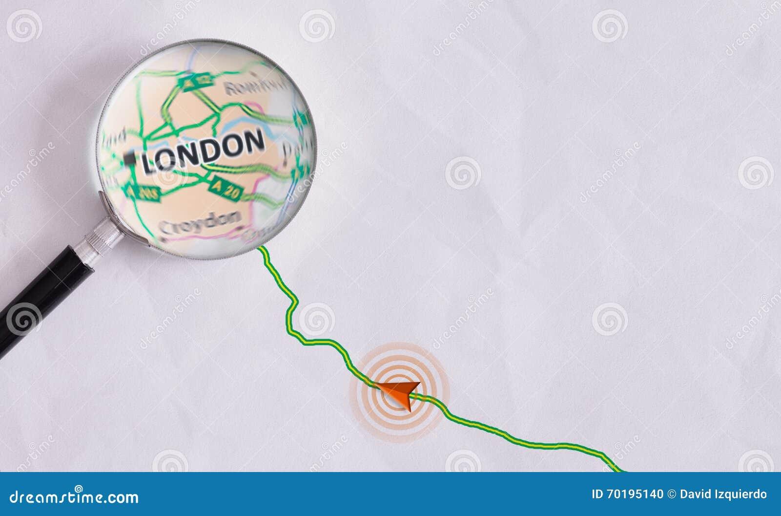 Begreppslopprutt som är destinerad för London
