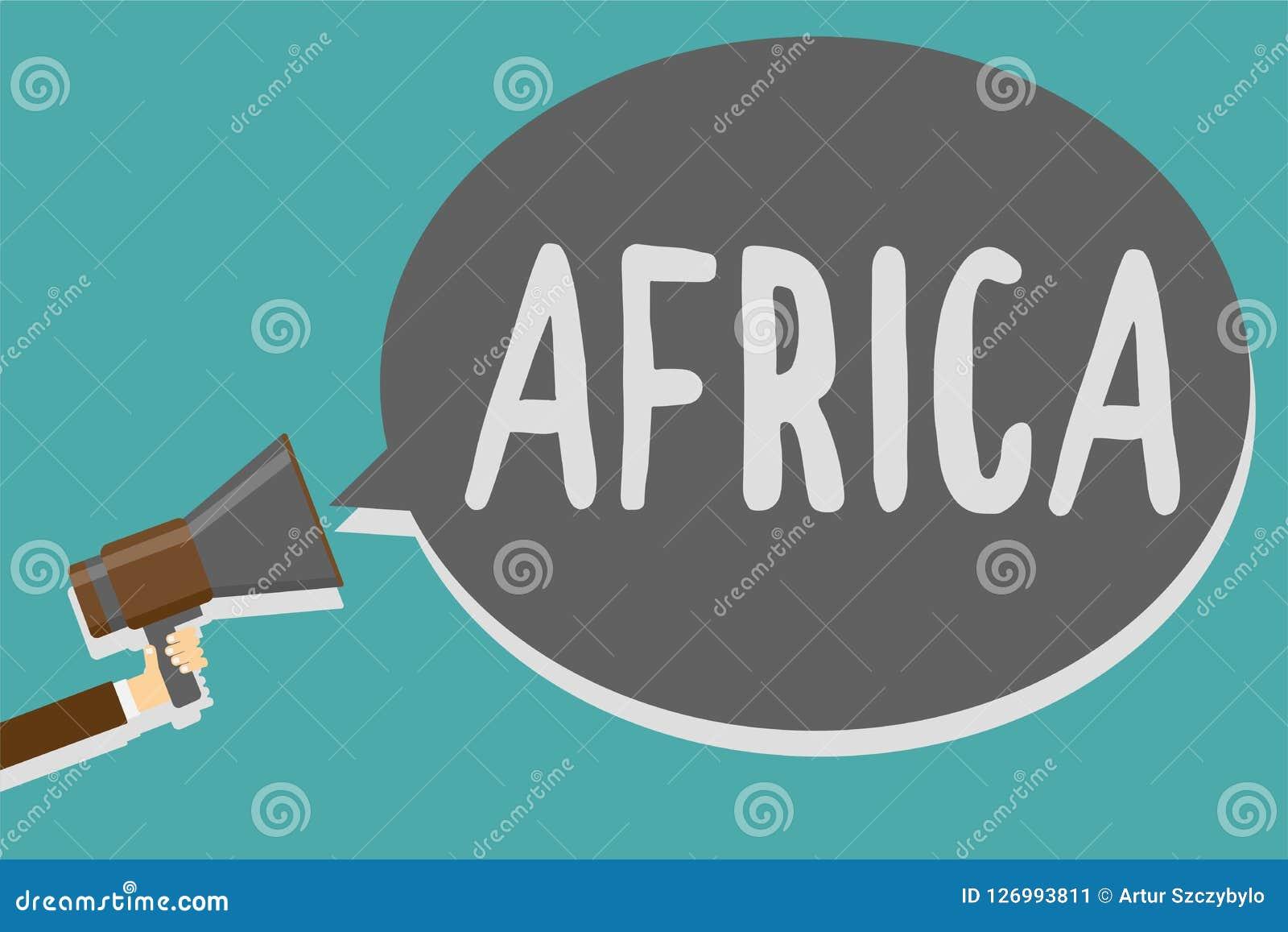 Begreppsmässig handhandstil som visar Afrika För affärsfototext för världar mest tätbefolkad kontinent i andra hand - störst och
