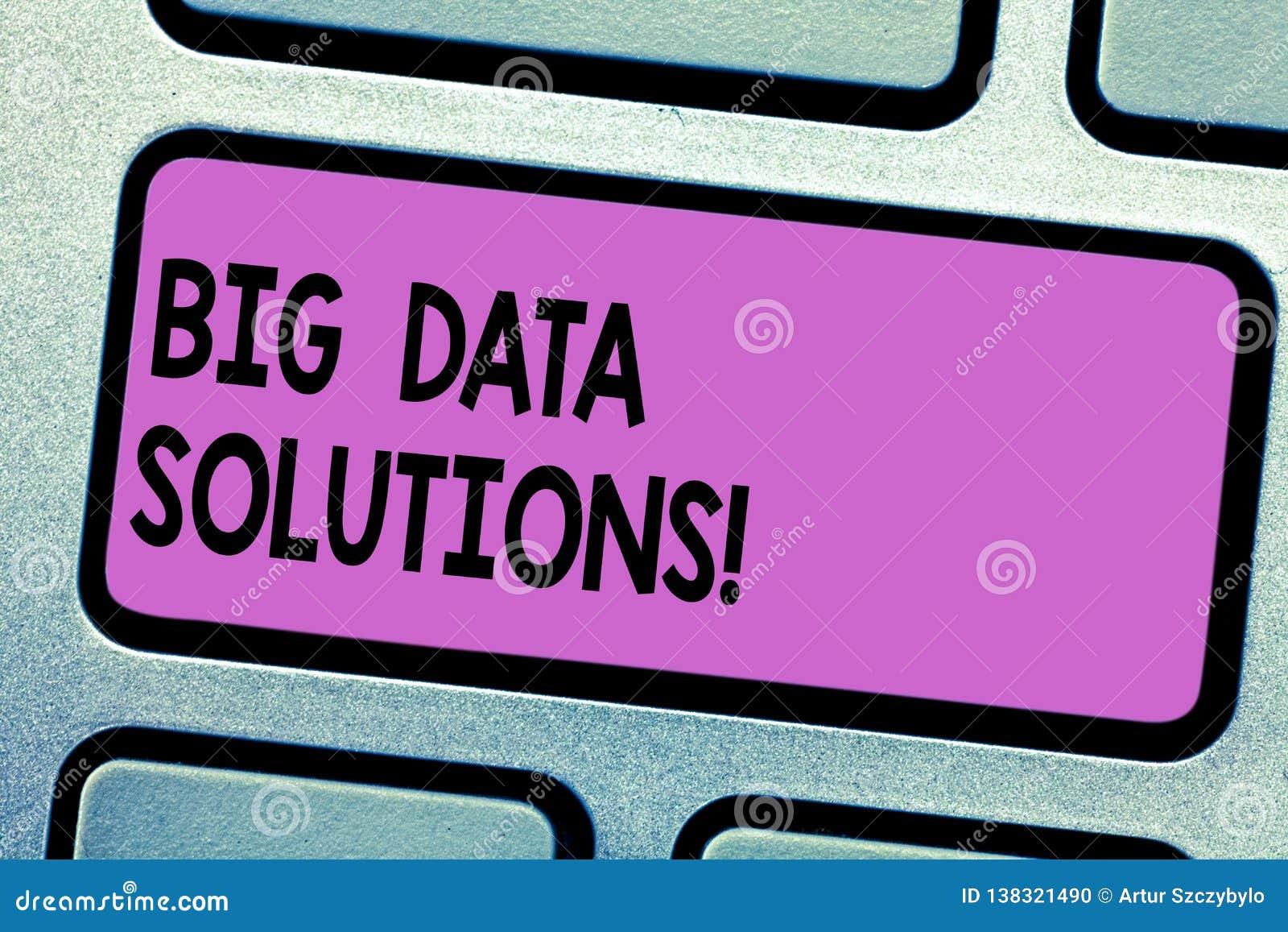 Begreppsmässig handhandstil som visar Big Data lösningar Affärsfototext att betyda massiv volym av strukturerade båda