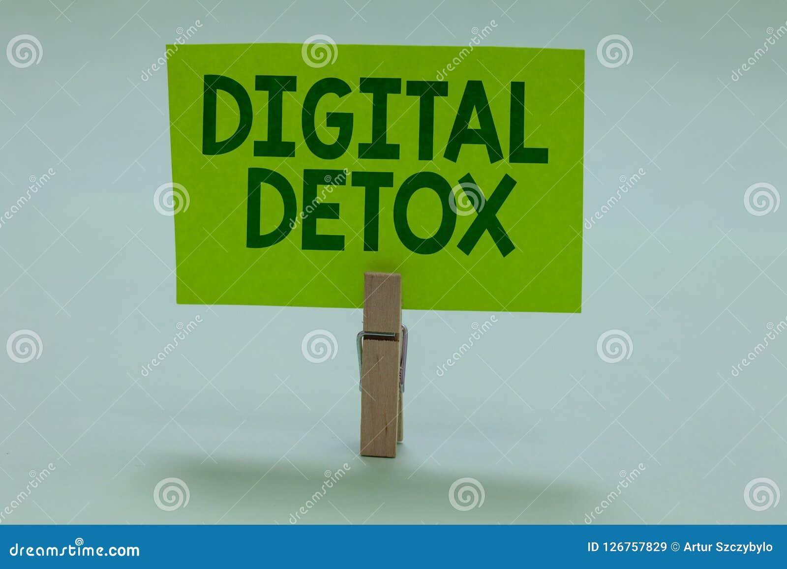 Begreppsmässig handhandstil som visar den Digital detoxen Affärsfotoet som fritt ställer ut av Disconnect för elektroniska appara