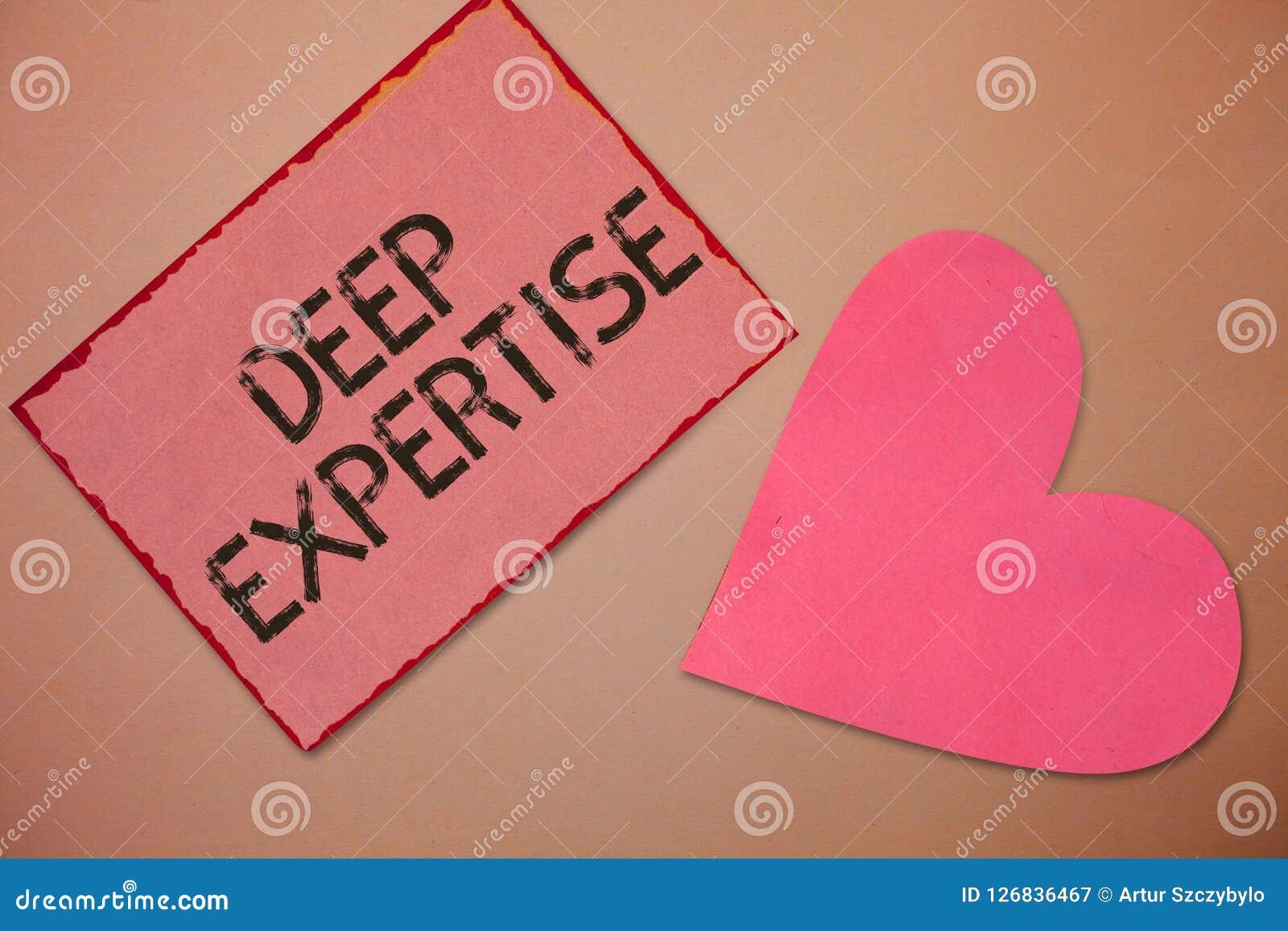 Begreppsmässig handhandstil som visar djup sakkunskap Stor expertis för affärsfototext eller bred kunskap i ett särskild fält ell