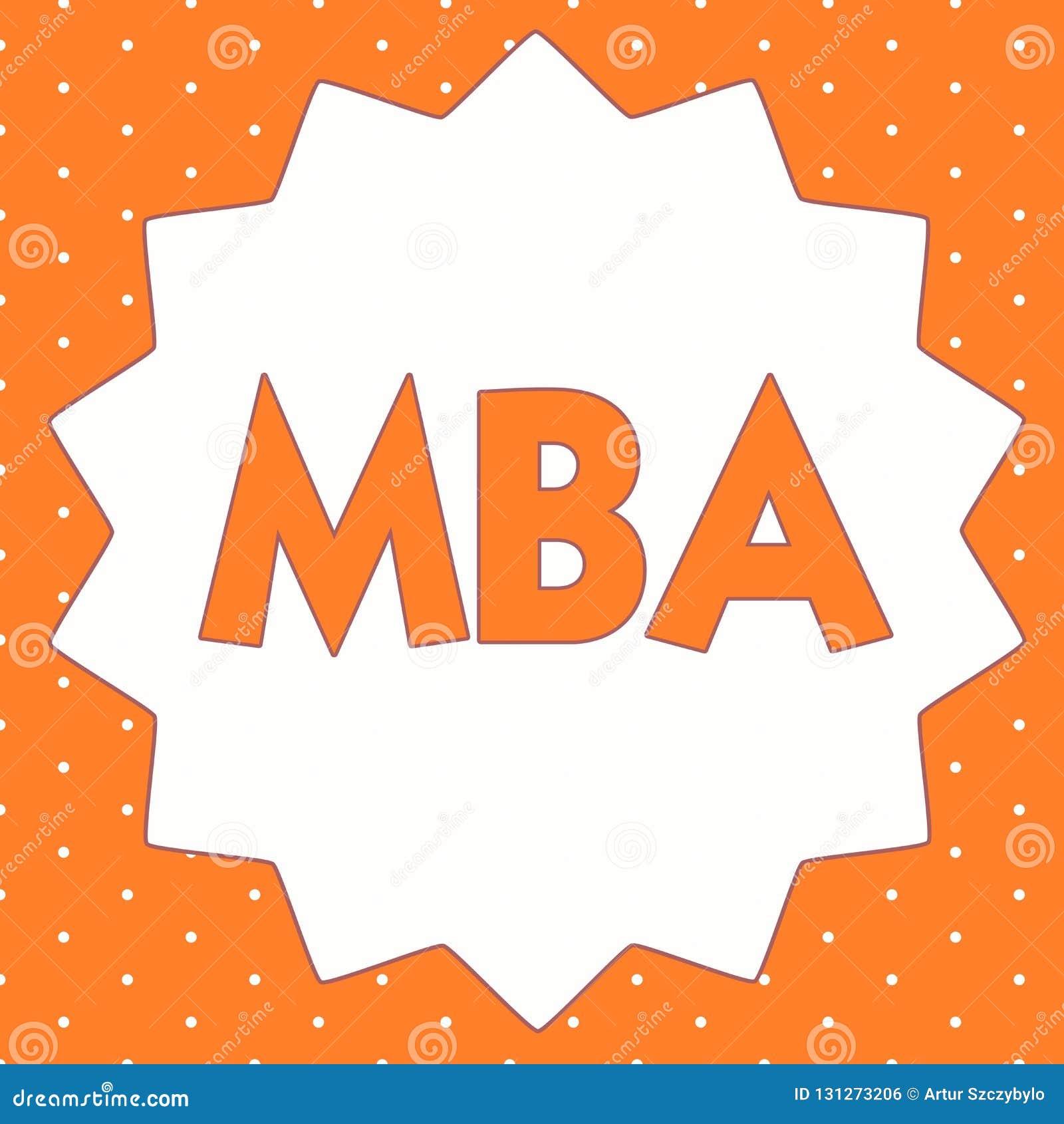Begreppsmässig handhandstil som visar Mba Affärsfoto som ställer ut avancerad grad i affärsfält liksom administration och marke