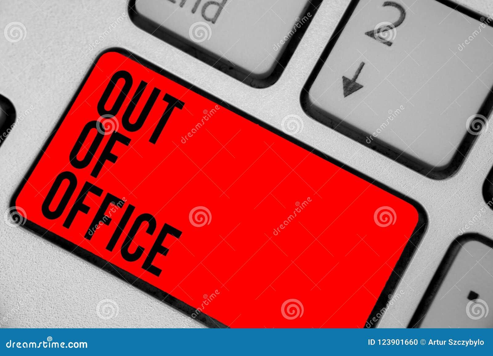 Begreppsmässig handhandstilvisning ut ur kontor Affärsfototext utanför jobbet inget i affärsavbrottsfritid kopplar av tidtangent