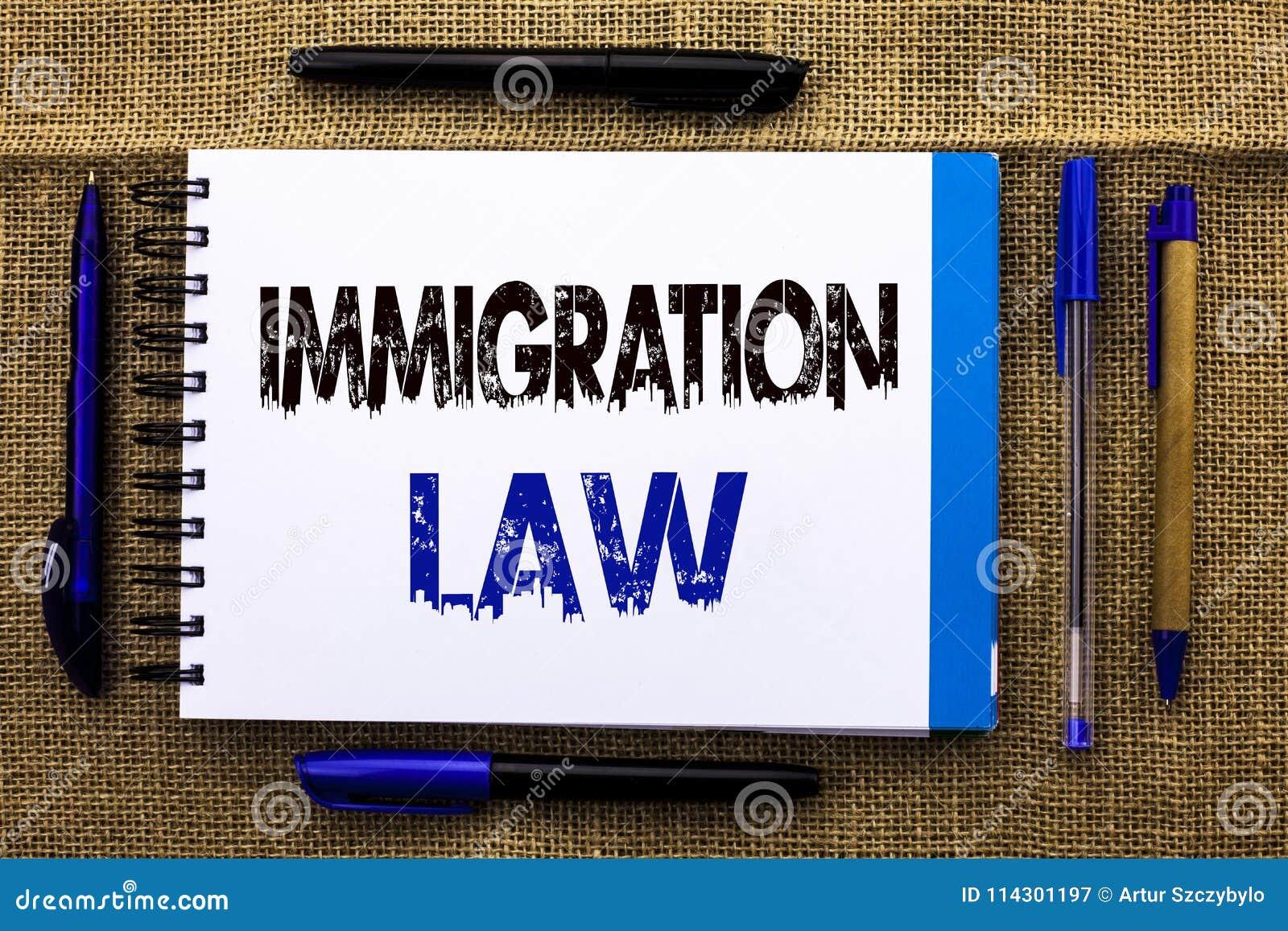 Begreppsmässig lag för invandring för handhandstilvisning Härskar den nationella reglementet för affärsfototext för invandrareutv
