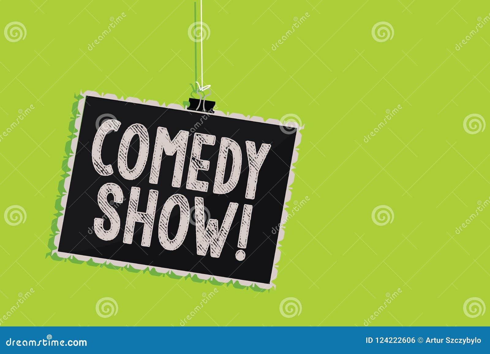 Begreppsmässig show för komedi för handhandstilvisning Medel för roligt program för affärsfototext humoristiskt underhållande av