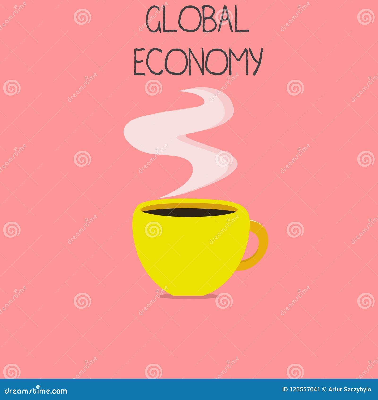 Begreppsmässig världsekonomi för handhandstilvisning System för affärsfototext av kapitalism för bransch och för handel runt om v
