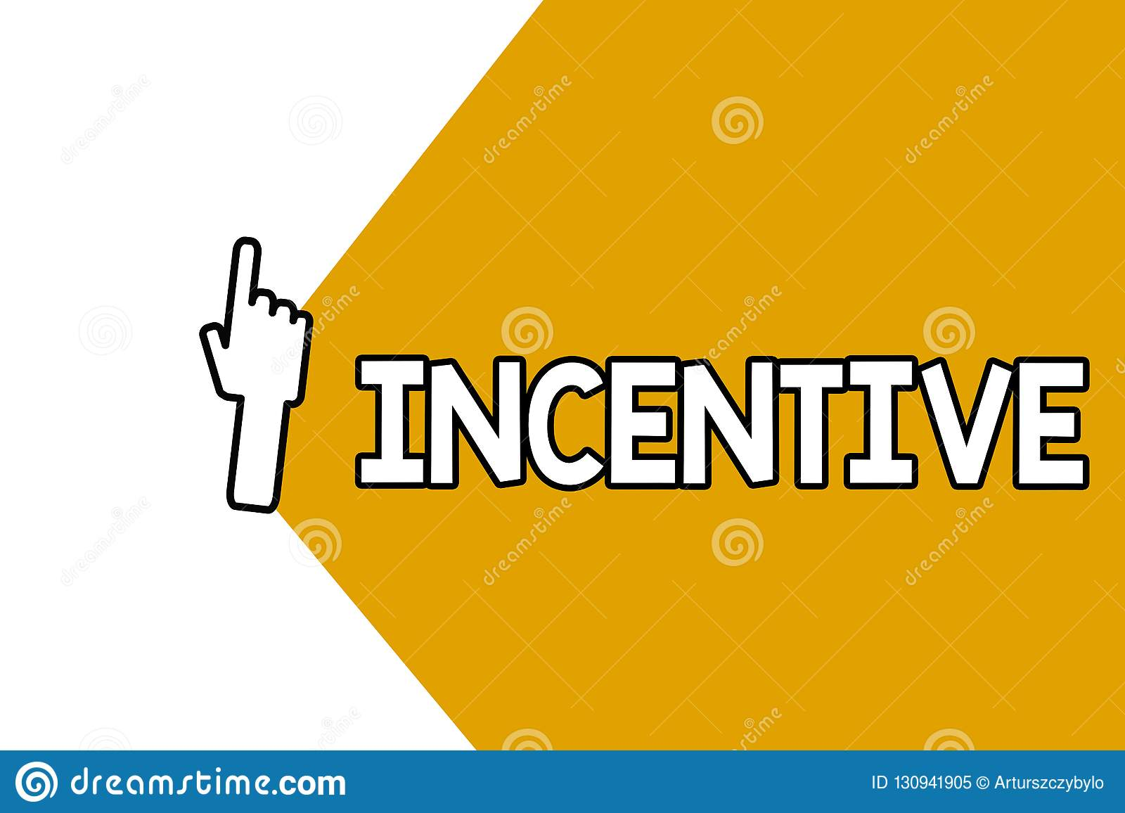 Begreppsmässigt incitament för handhandstilvisning Affärsfoto som ställer ut tinget som motiverar eller uppmuntrar någon att göra