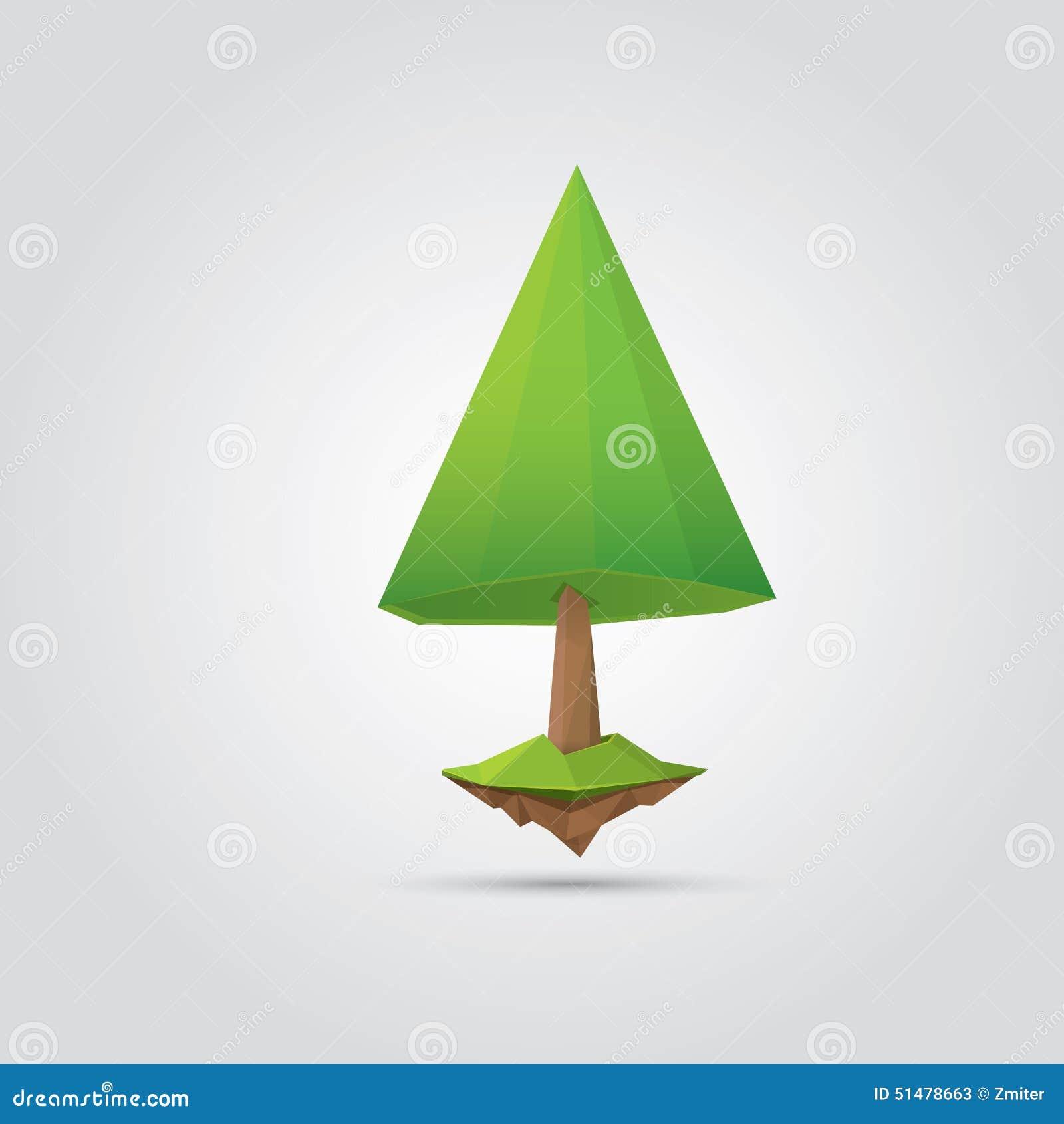 Begreppsmässigt polygonal träd också vektor för coreldrawillustration