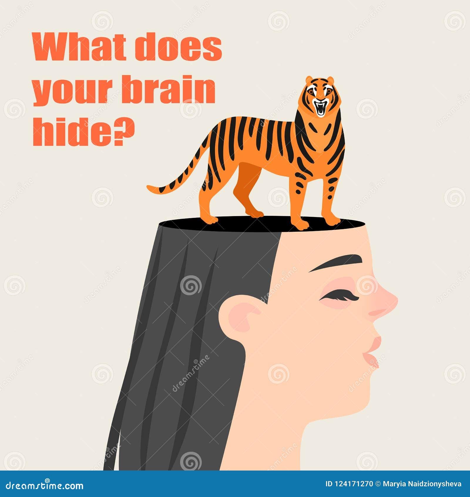Begriffsbild eines Mädchens mit einem Tiger, der in ihrem Kopf sich versteckt Geheimnisse des menschlichen Gehirns