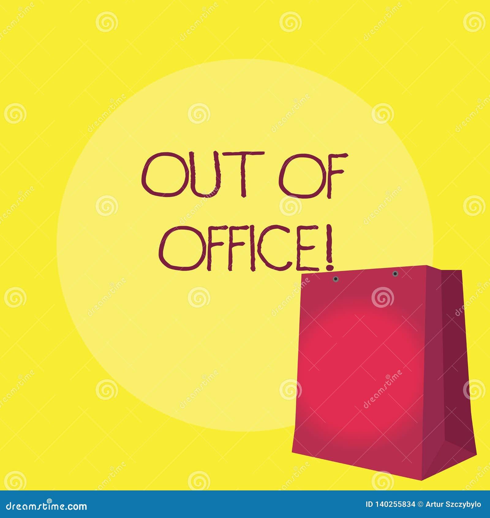 Begriffshandschrift, die aus Büro heraus darstellt Das Geschäftsfoto, das außerhalb des Jobs niemand in der Geschäft Bruch-Freize