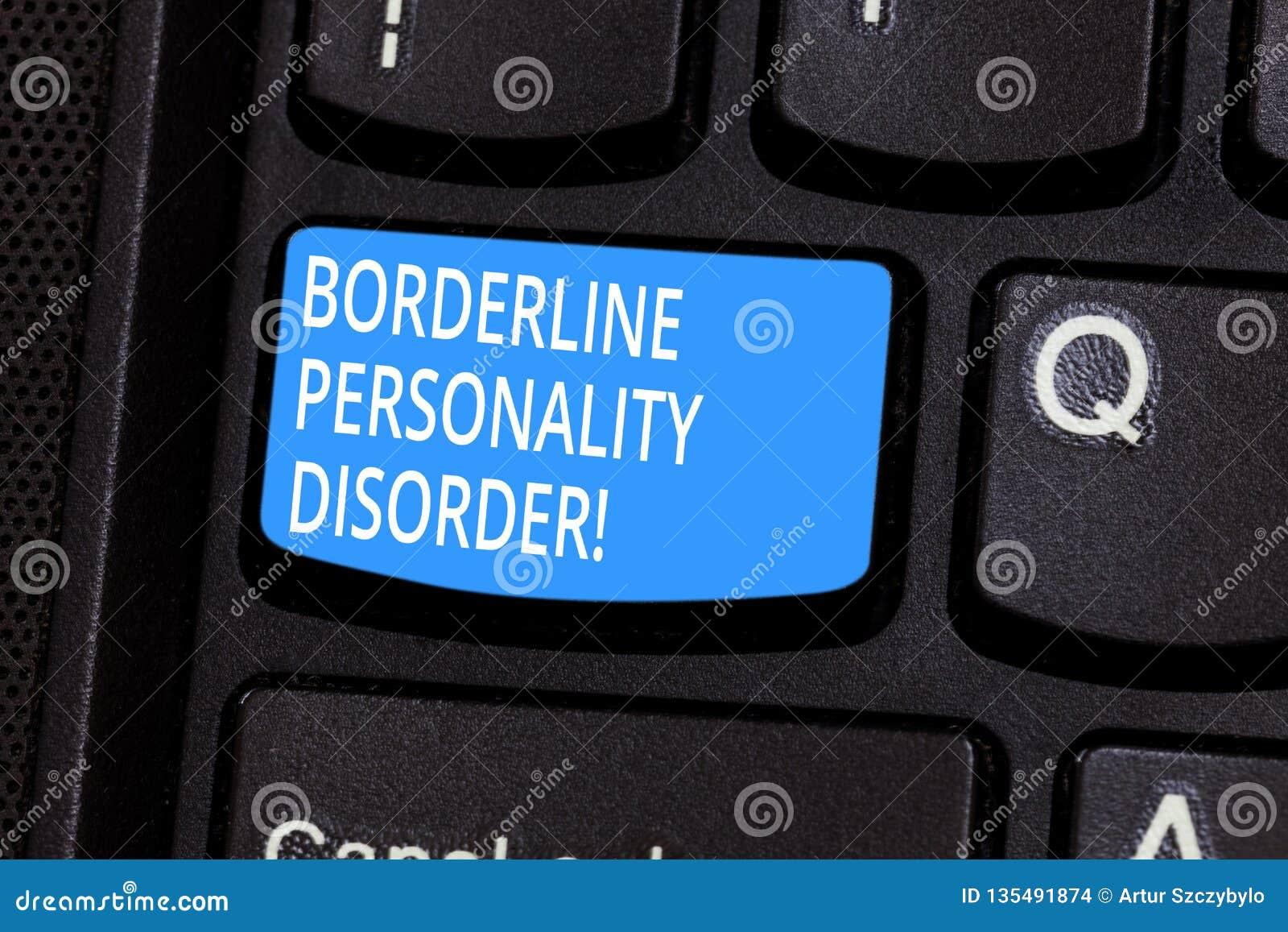 Begriffshandschrift, die Borderline-Persönlichkeitsstörung zeigt Geistesstörung des Geschäftsfototextes markiert durch instabiles