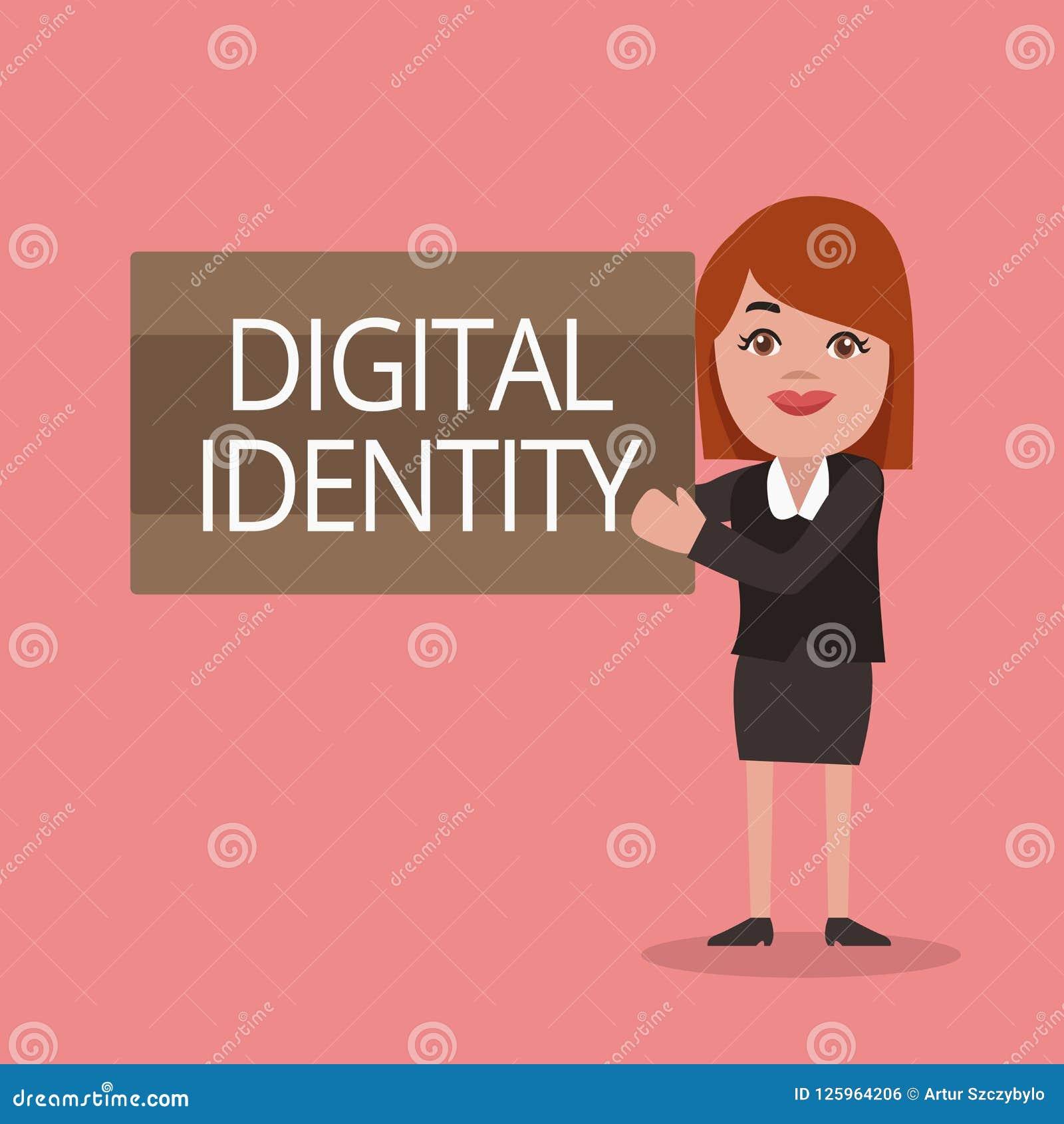 Begriffshandschrift, die Digital-Identität zeigt Geschäftsfototextinformationen über das Wesen benutzt durch Computer, um Mittel