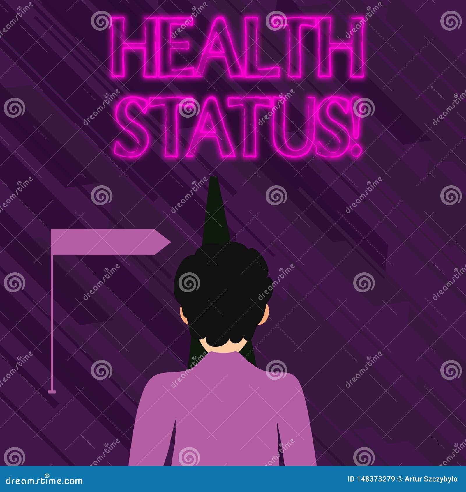 Begriffshandschrift, die Gesundheitszustand zeigt Gesch?ftsfototext der Gesundheitszustand eines Demonstrierens oder der Bev?lker