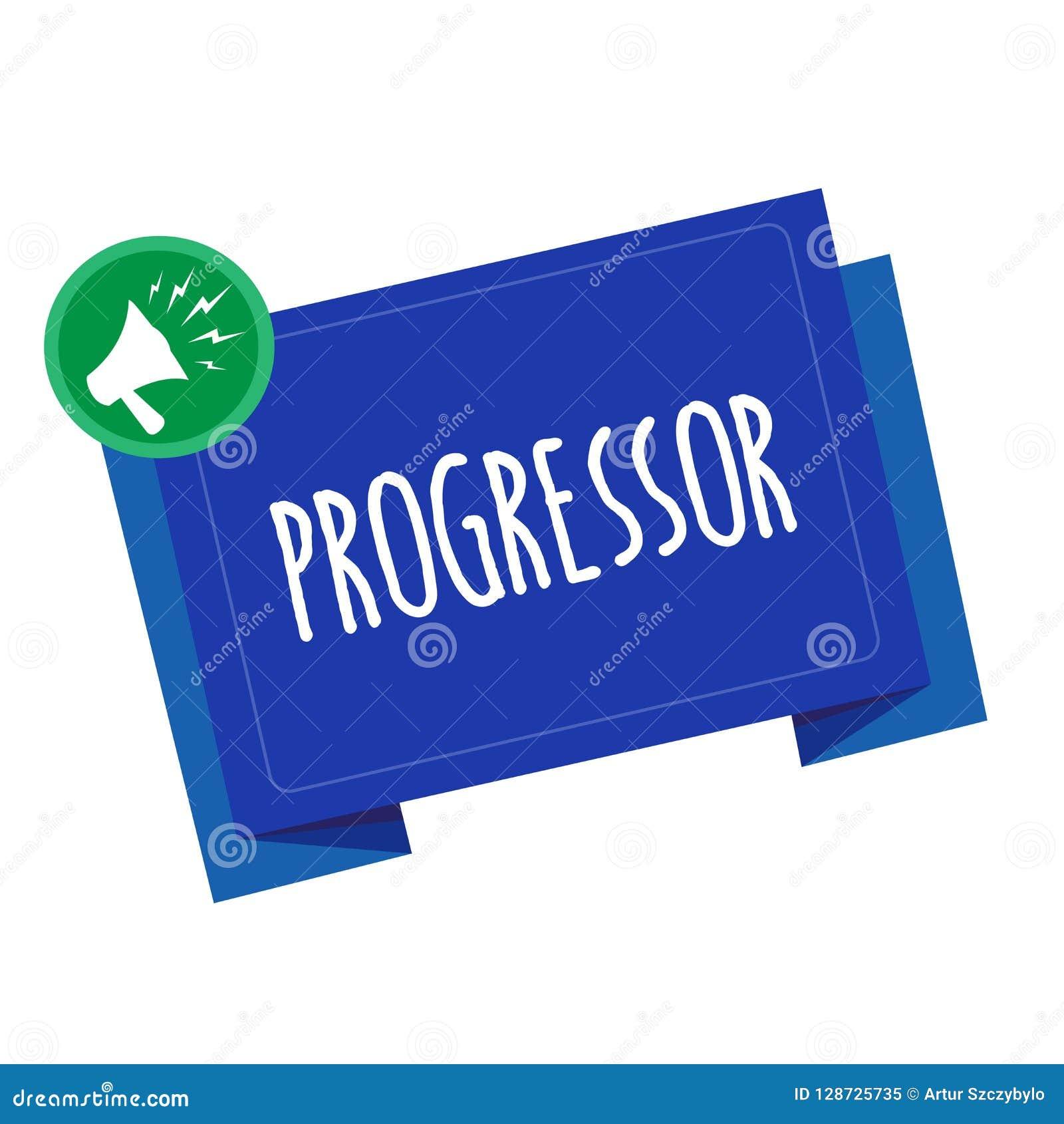 Begriffshandschrift, die Progressor zeigt Geschäftsfoto-Text Person, die Fortschritt macht oder ihn in anderen erleichtert