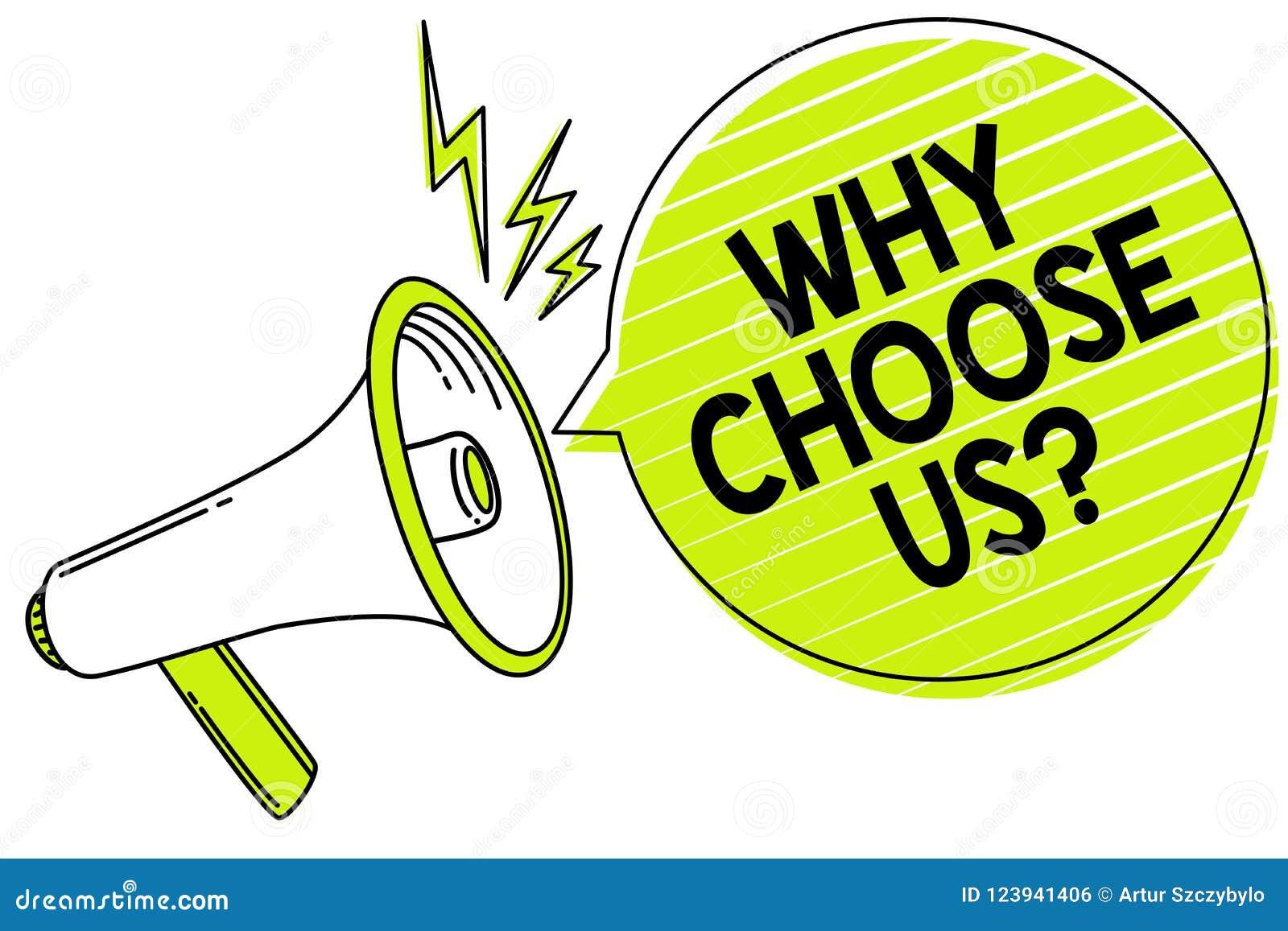 Begriffshandschriftvertretung, warum uns Frage wählen Sie Geschäftsfototext folgert für das Wählen unserer Marke über anderen Arg