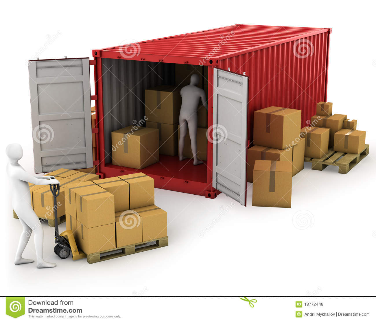 Behållare två lastar av arbetare