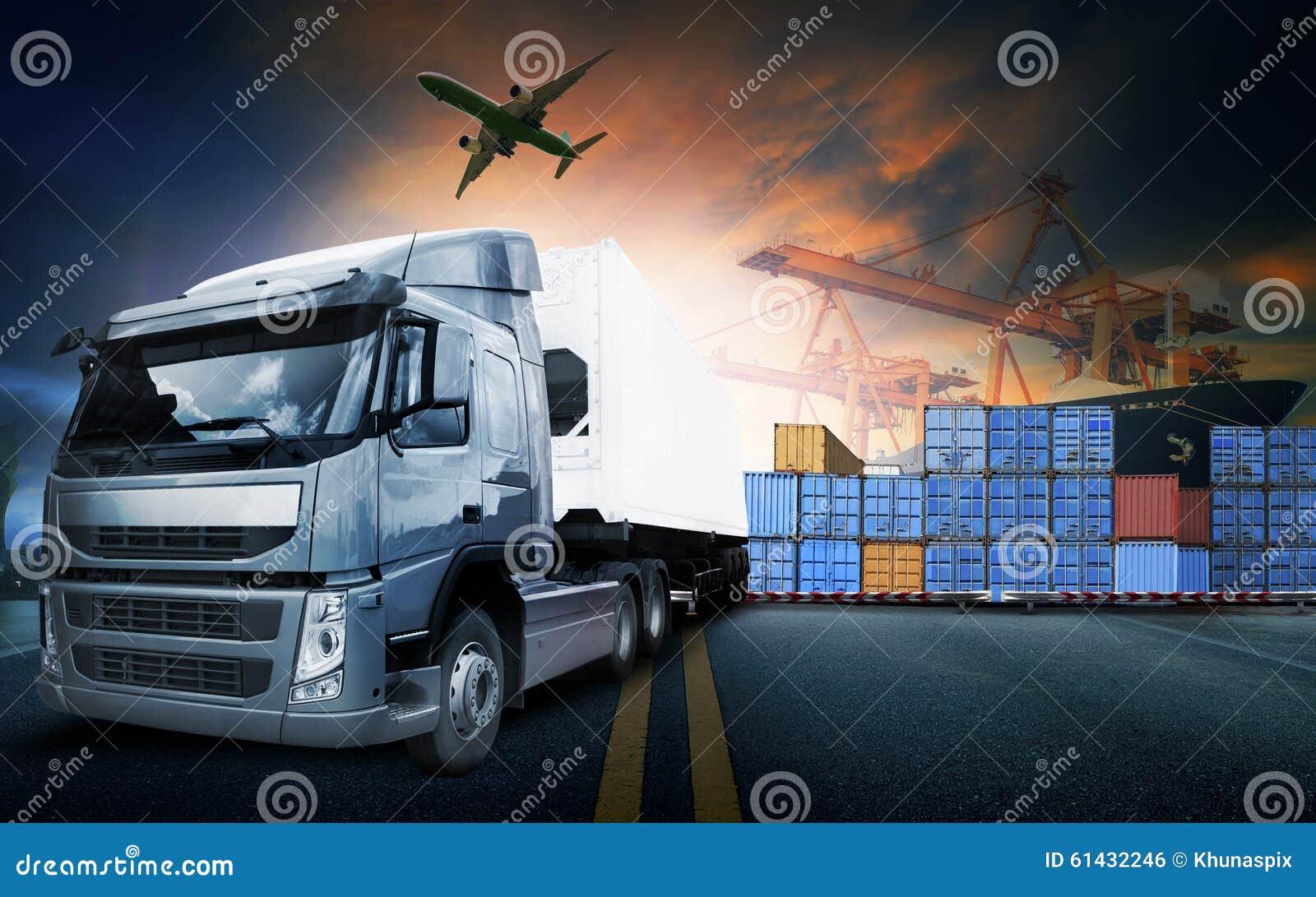 Behållarelastbil, skepp i port och fraktlastnivå i transpo