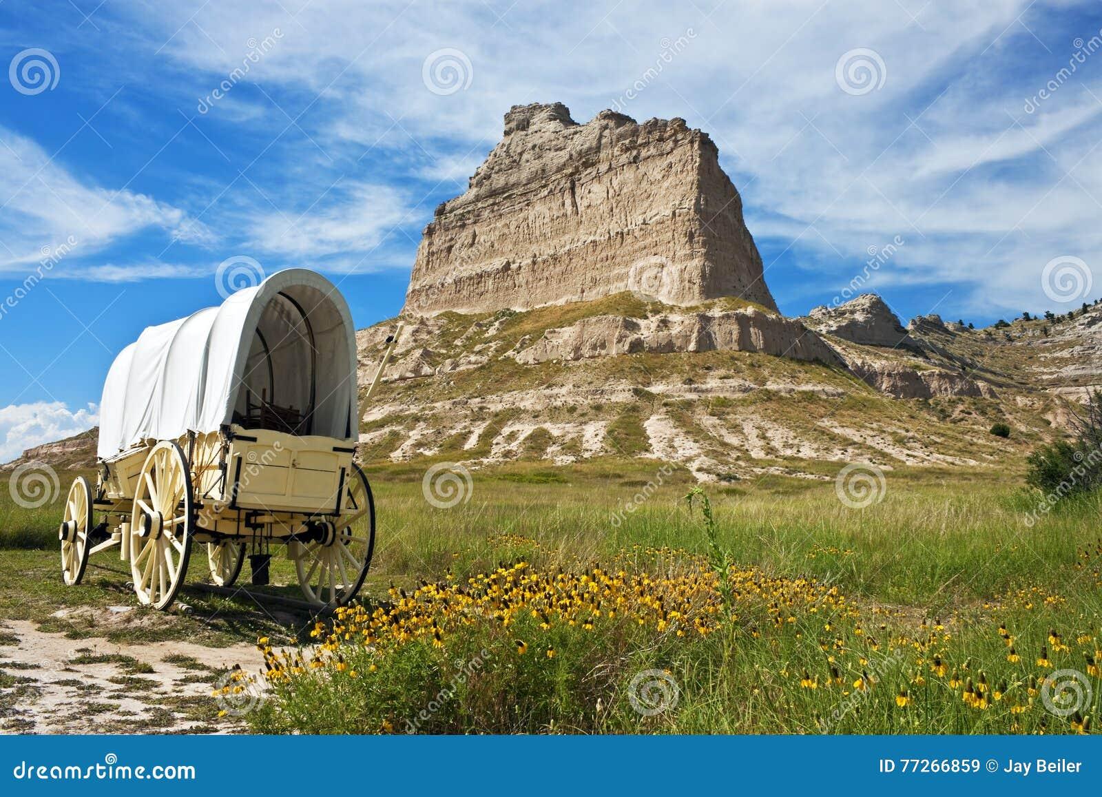 Behandelde wagen, het Nationale Monument van Scotts Bluff, Nebraska