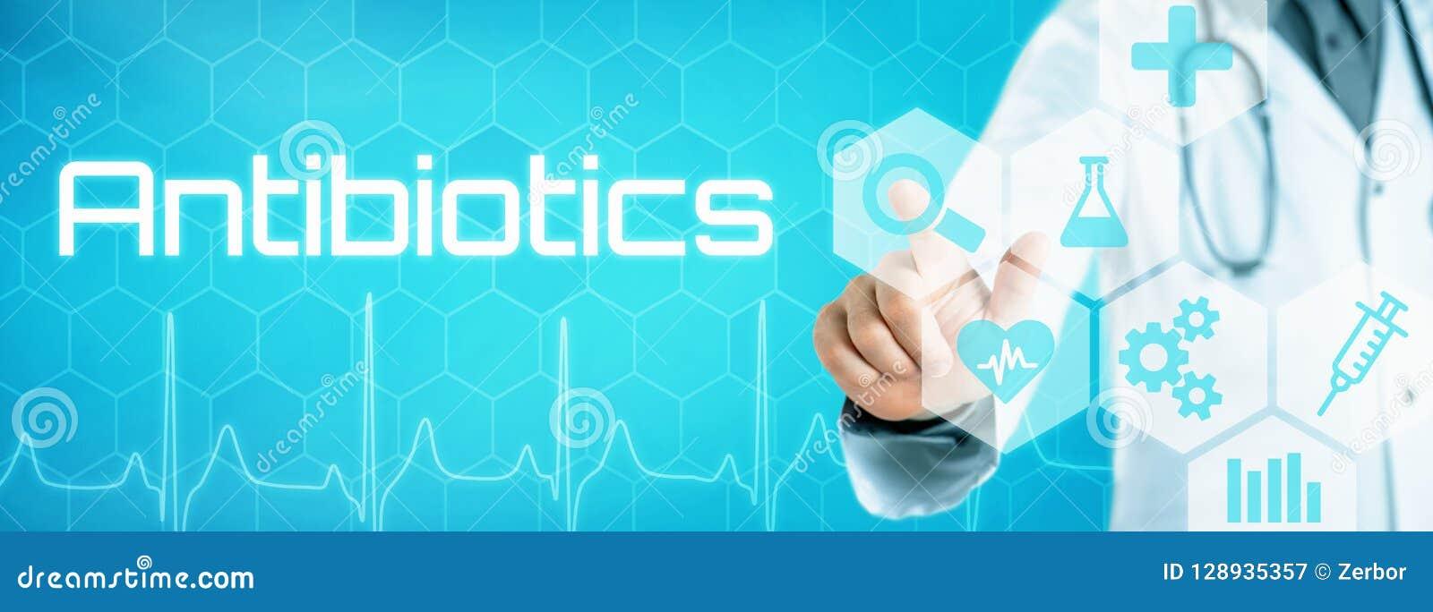 Behandeln Sie das Berühren einer Ikone auf einer futuristischen Schnittstelle - Antibiotika