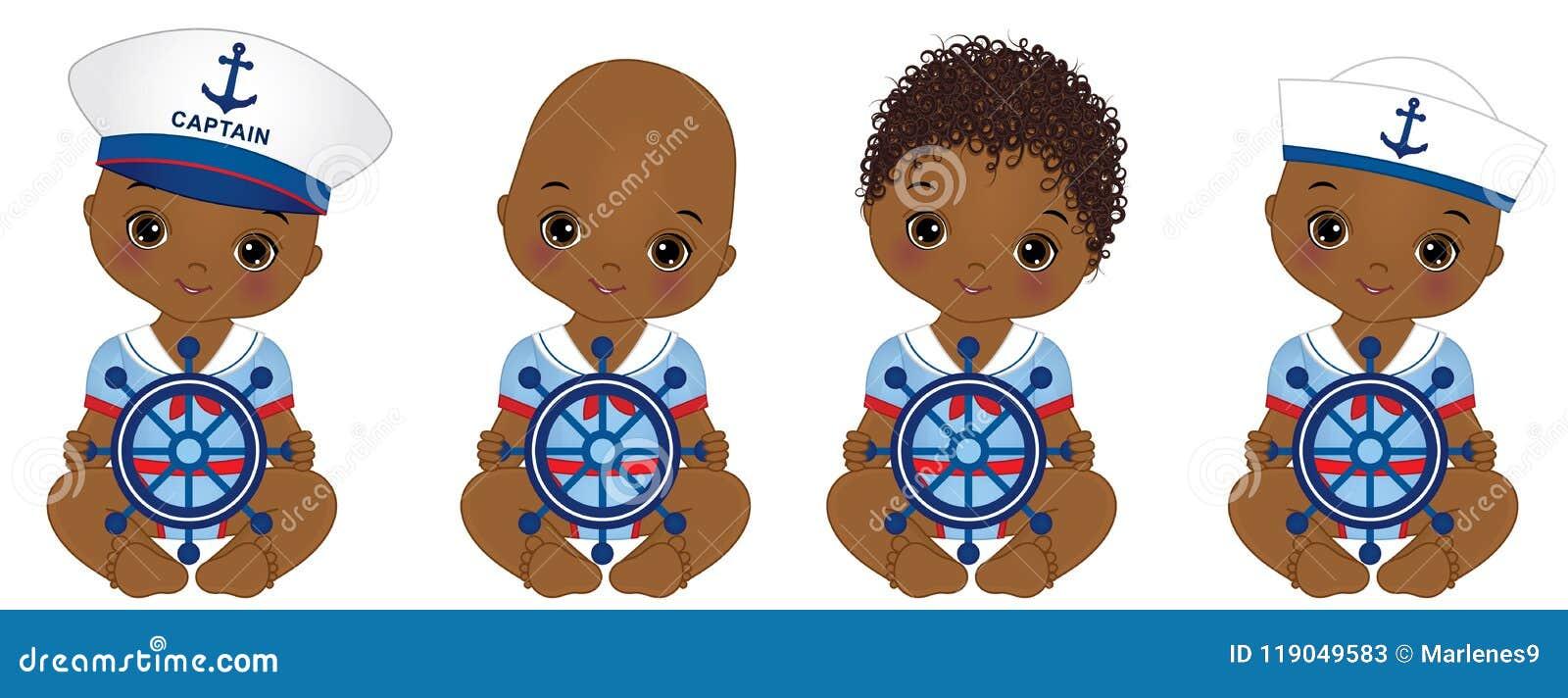 Behandla som ett barn den gulliga afrikanska amerikanen för vektorn iklädd nautisk stil för pojkar