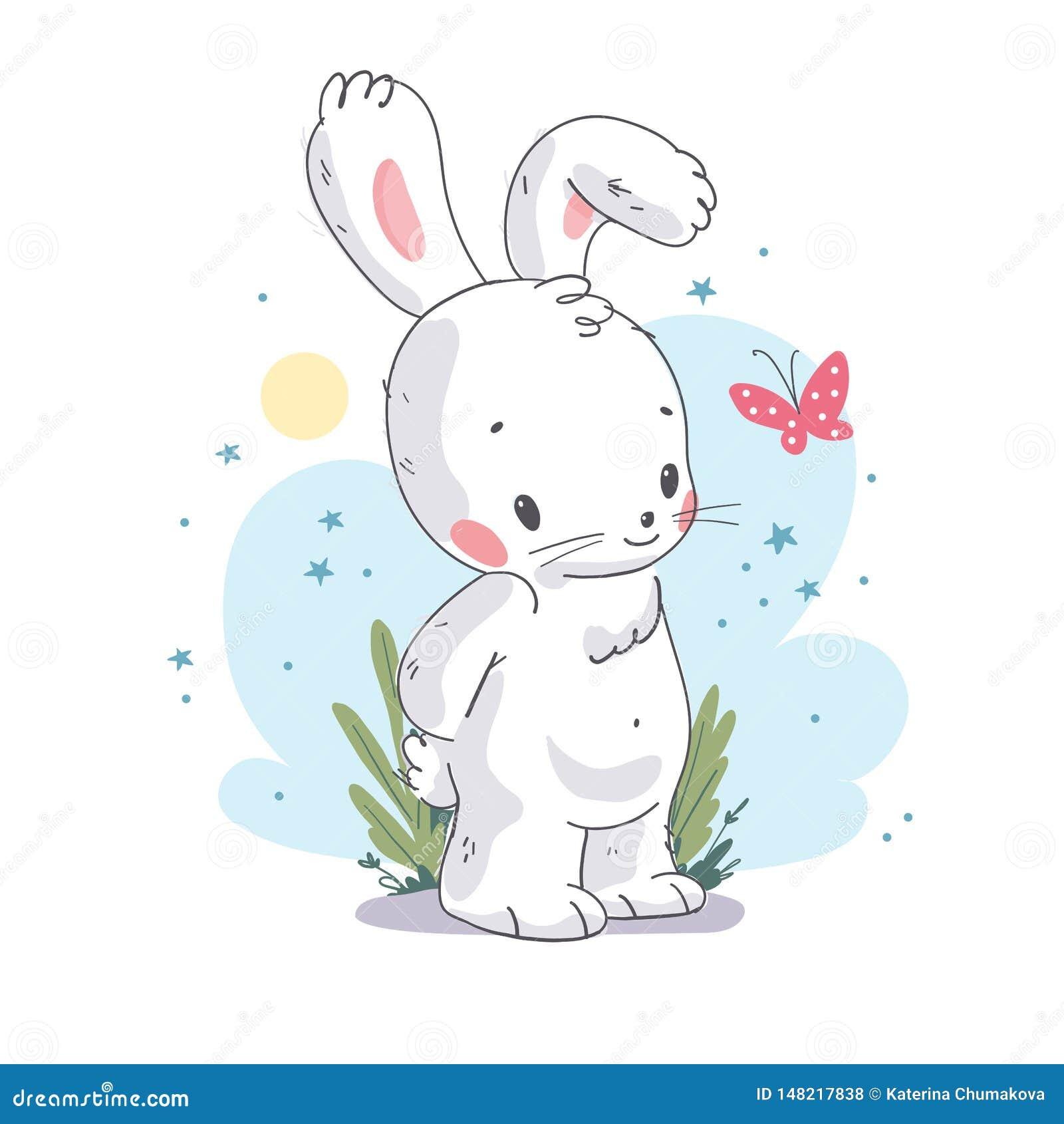 Behandla som ett barn den plana illustrationen för vektorn av gullig liten vit kaninteckenet med den isolerade rosa fjärilen
