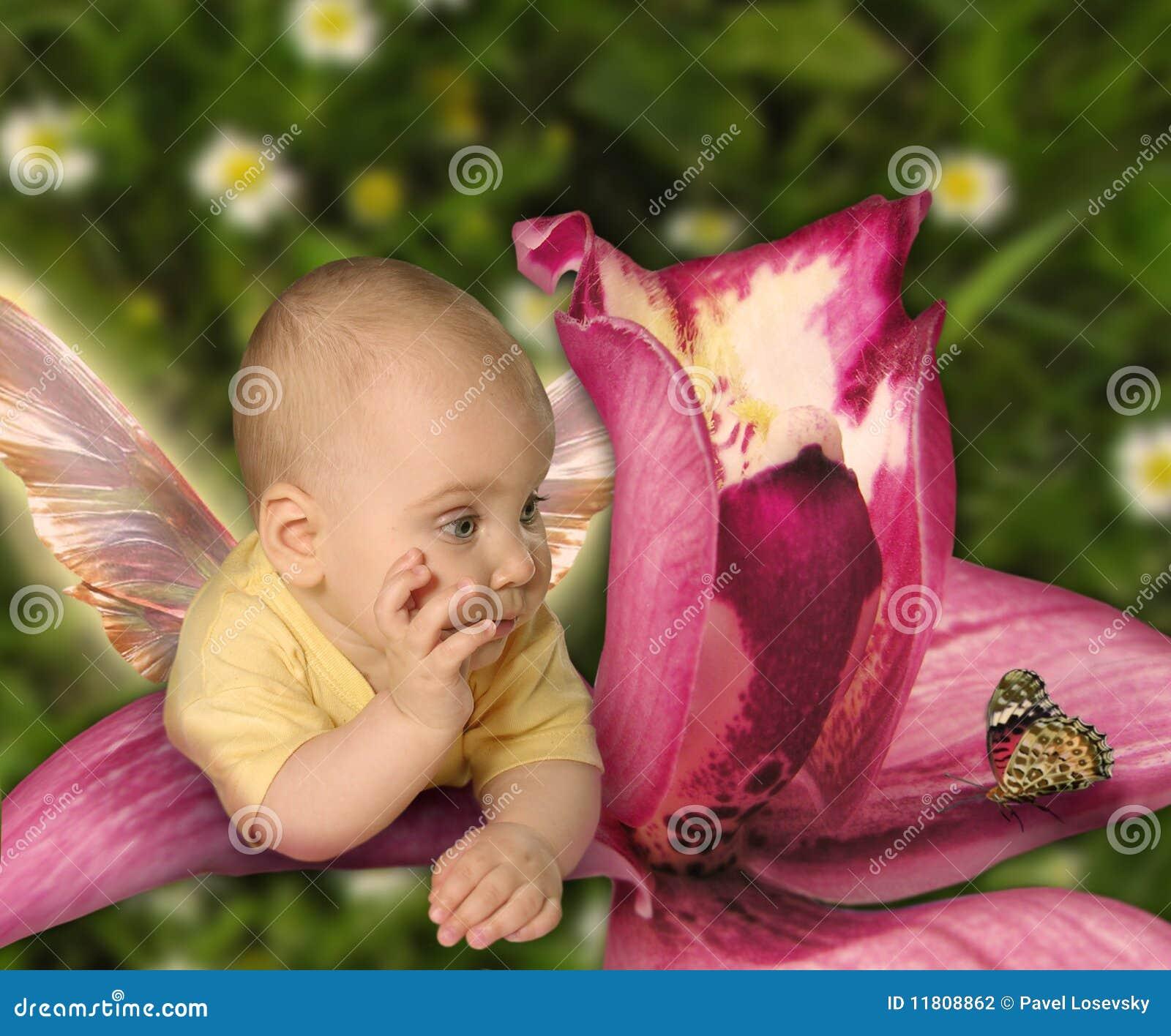 Behandla som ett barn fjärilscollageorchiden
