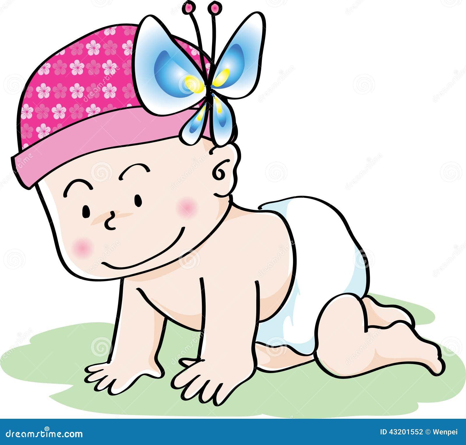 Download Behandla Som Ett Barn Flaskflickan Stock Illustrationer - Illustration av krypa, linje: 43201552