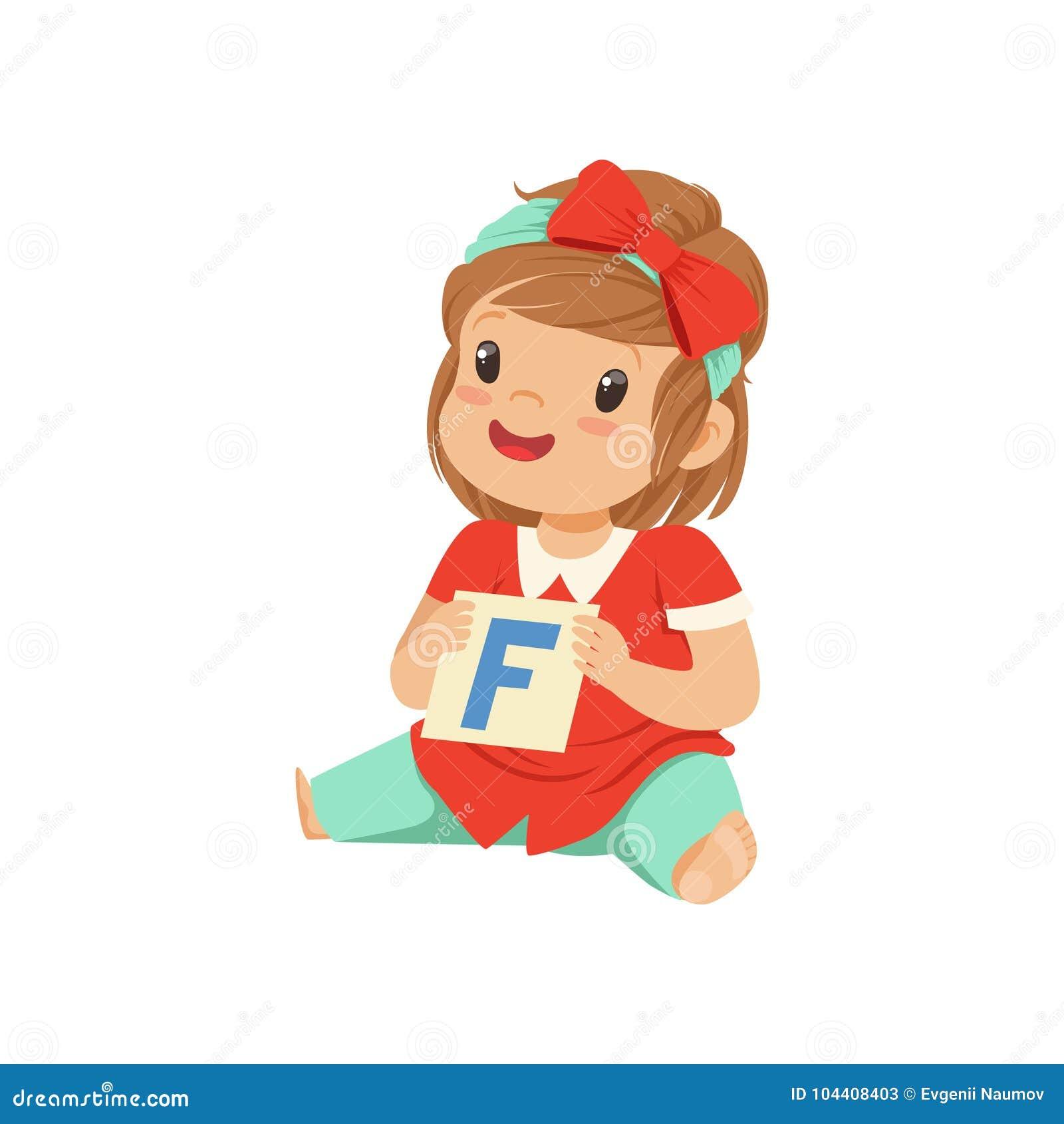 Behandla som ett barn flickan som spelar lära leken med kortet för bokstav F Övning för anförandeterapi Plant barntecken