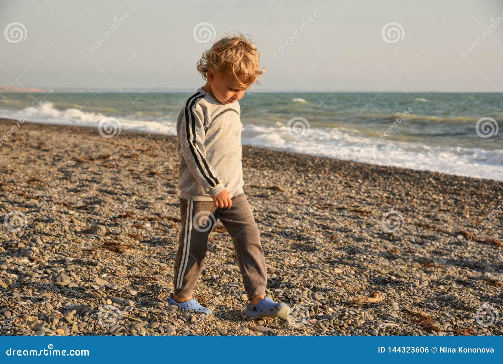 Behandla som ett barn gå för sikt för bakre sjösida för pojke litet pojken går på solnedgången på stranden