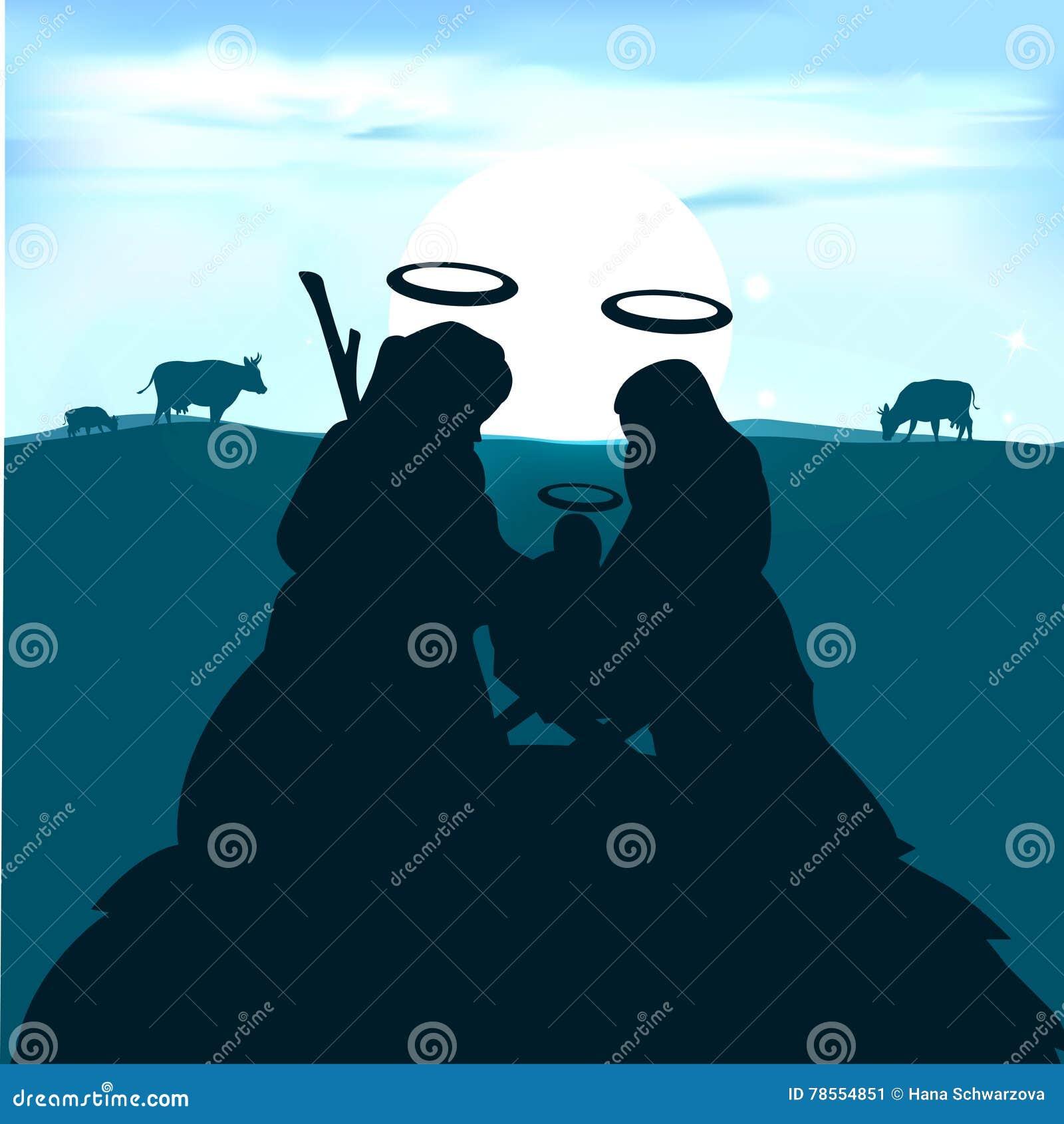 Behandla som ett barn Jesus i krubban med Joseph och den jungfruliga Maryen