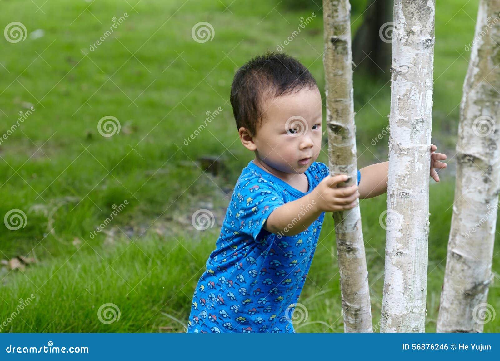 Behandla som ett barn pojkeklättringträdet