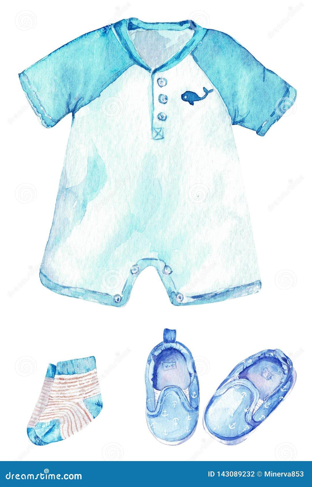 Behandla som ett barn pojkeromperen med ett val, randiga sockor och skor med ankaren Liten sjömandräkt för flygillustration för n