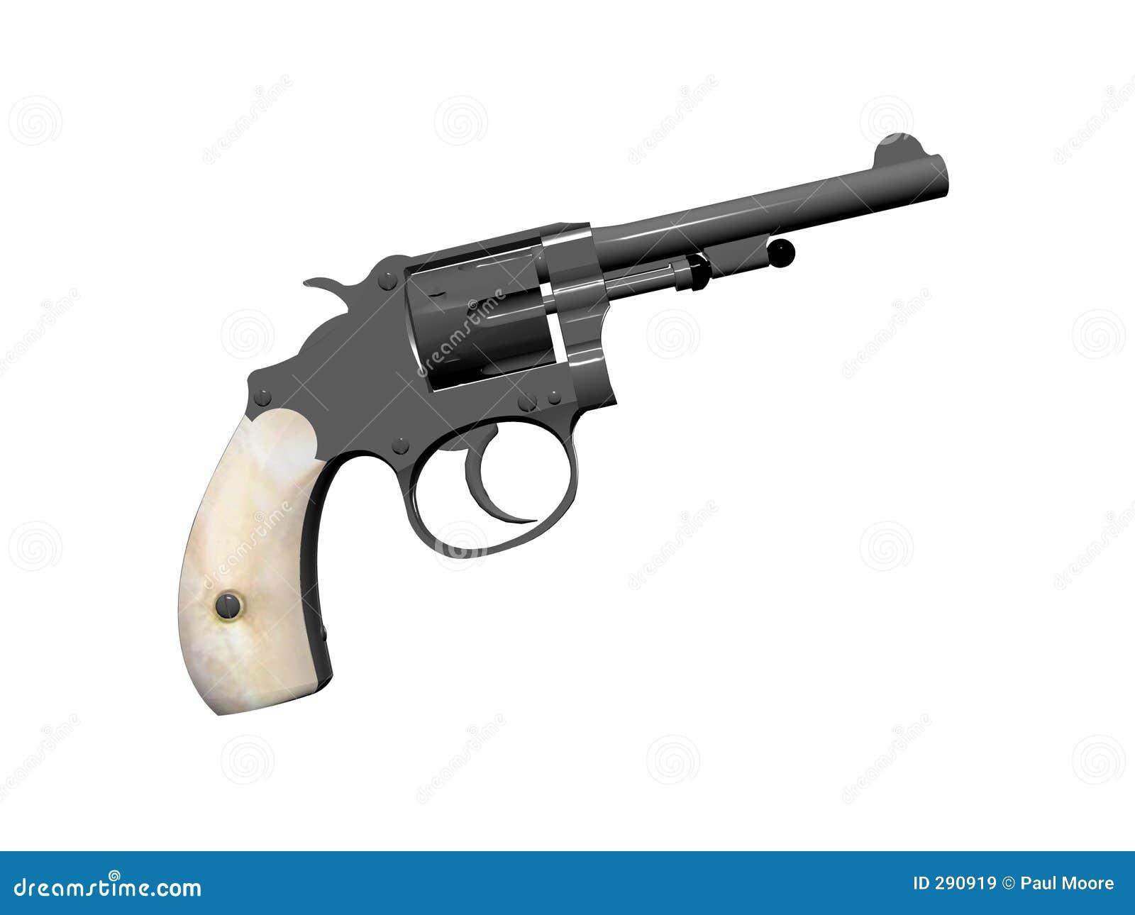 Behandlad pärlemorfärg pistol