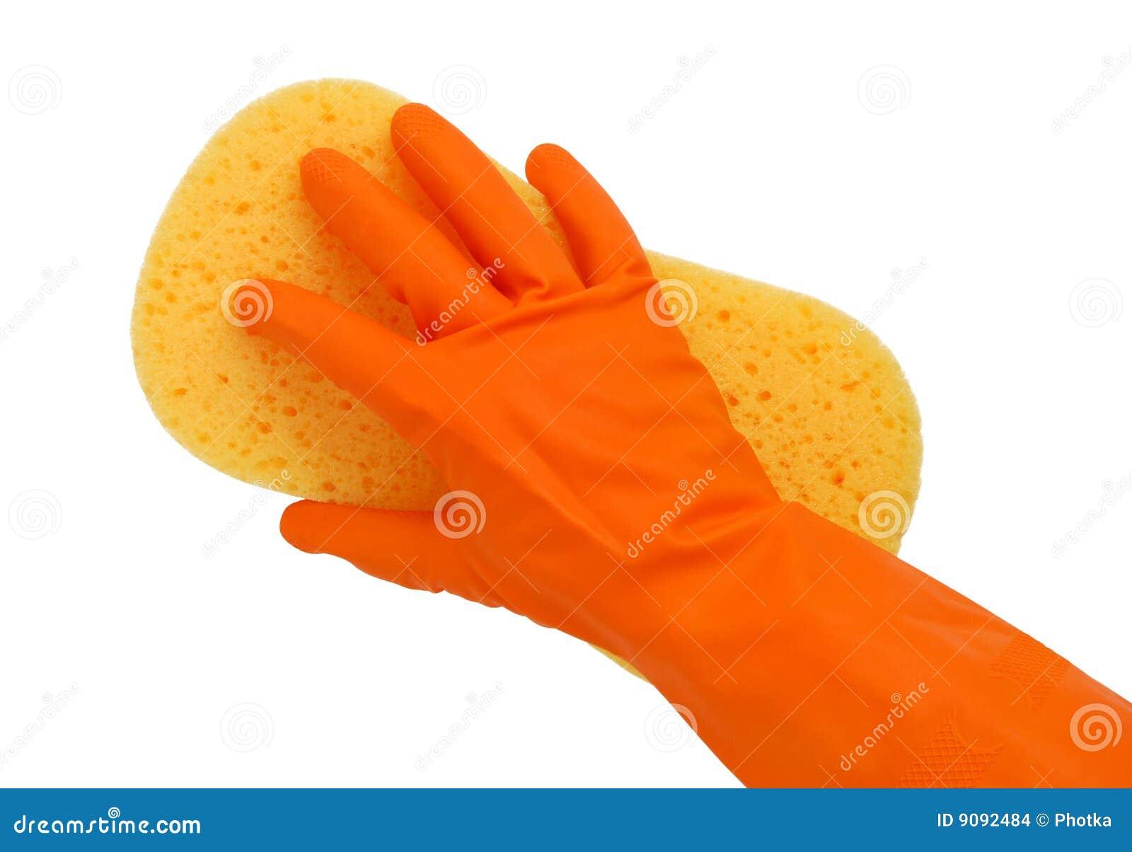 Behandschuhte Hand mit einem Schwamm
