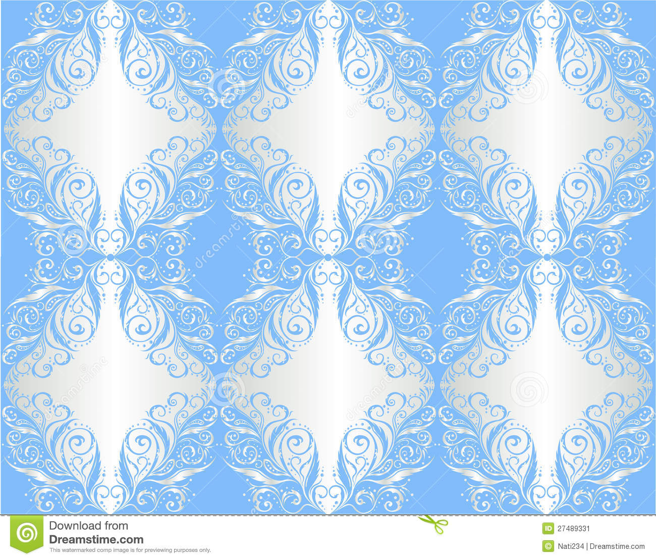 Behang bloemen ornament op zilveren en blauw stock for Papel de pared plata