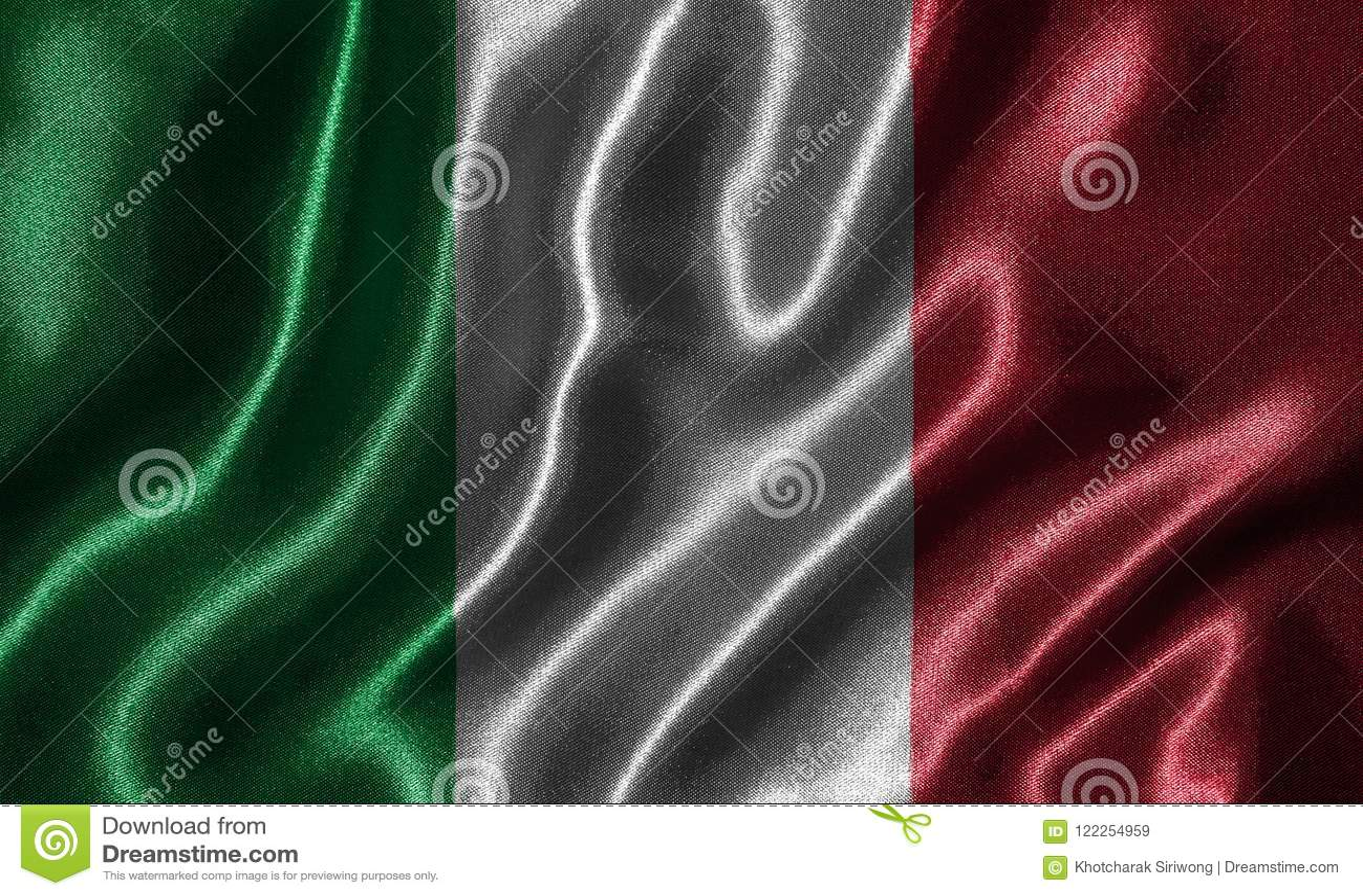 Behang door de vlag van Italië en golvende vlag door stof