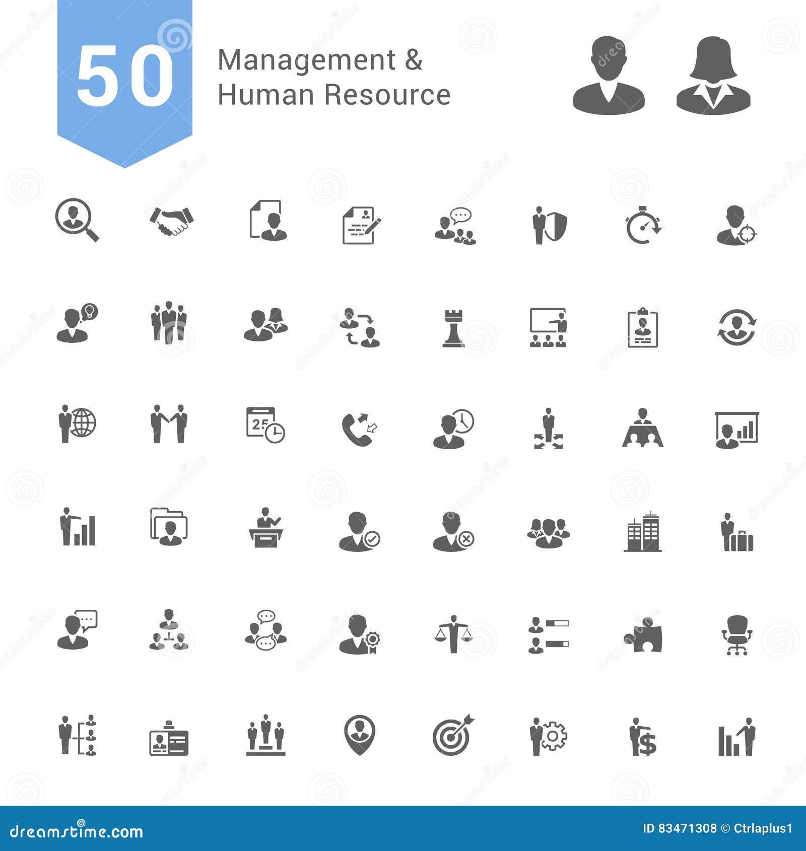 Beheer en de Menselijke Reeks van het Middelpictogram 50 stevige Vectorpictogrammen