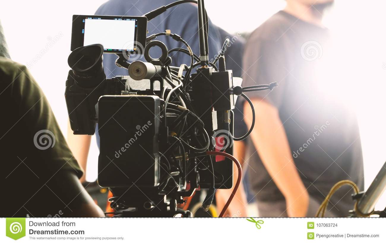 Behind the video shooting production team working