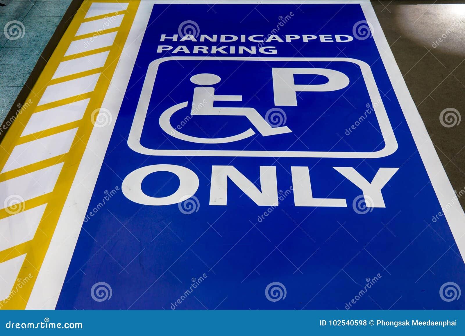 Behindert, nur Zeichenschlitz für Sperrungsleute parkend