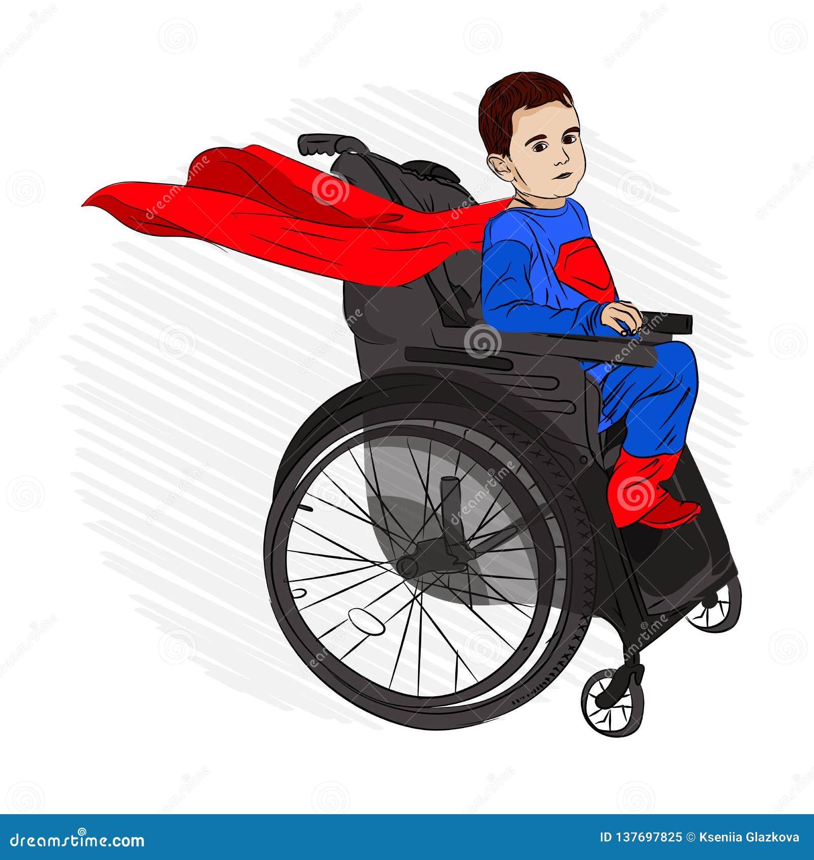 Behindertes Kind in einem Rollstuhl wünscht zu