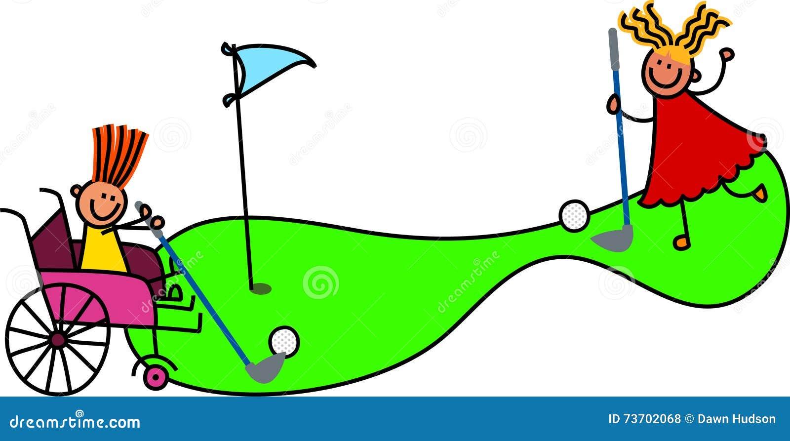 Behindertes Mädchen spielt verrücktes Golf