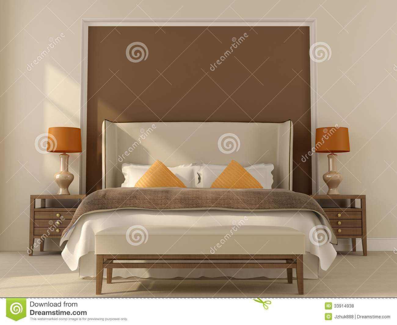 Beige bedroom with orange decor royalty free stock photos for Brown and beige bedroom ideas