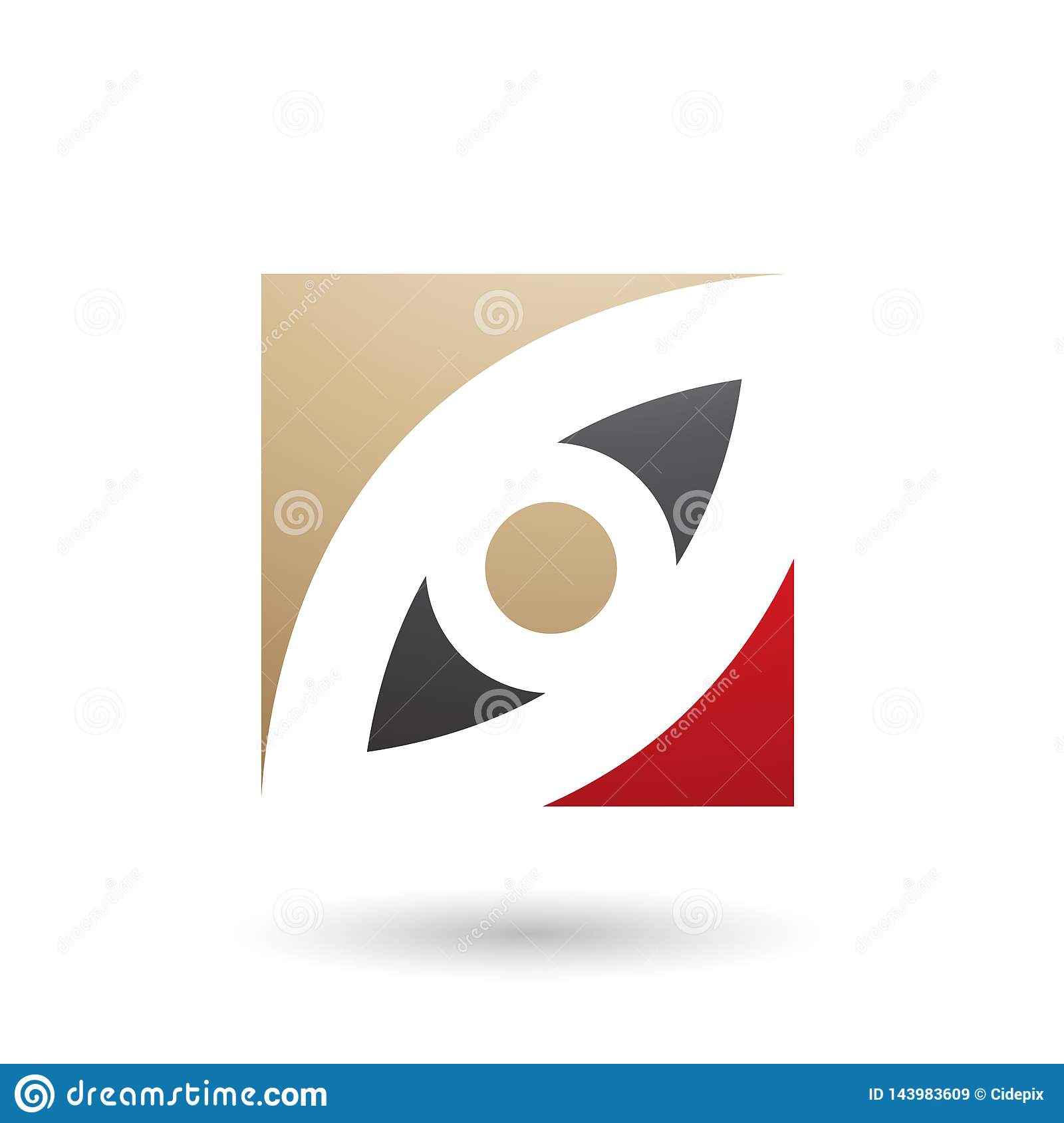 Beige Black and Red Eye Shaped Square Vector Illustration