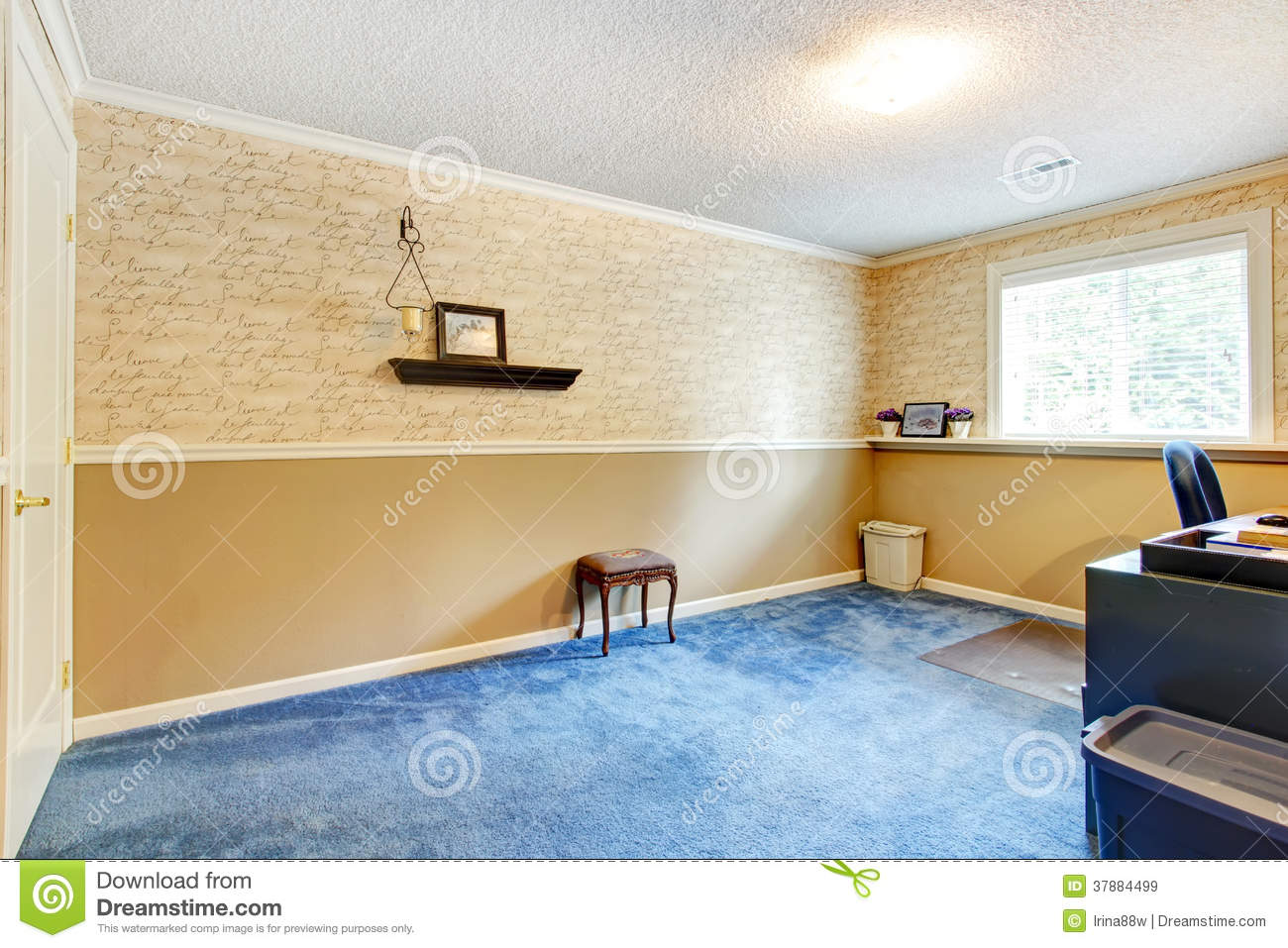Beige And Blue Empty Office Room Royalty Free Stock Images