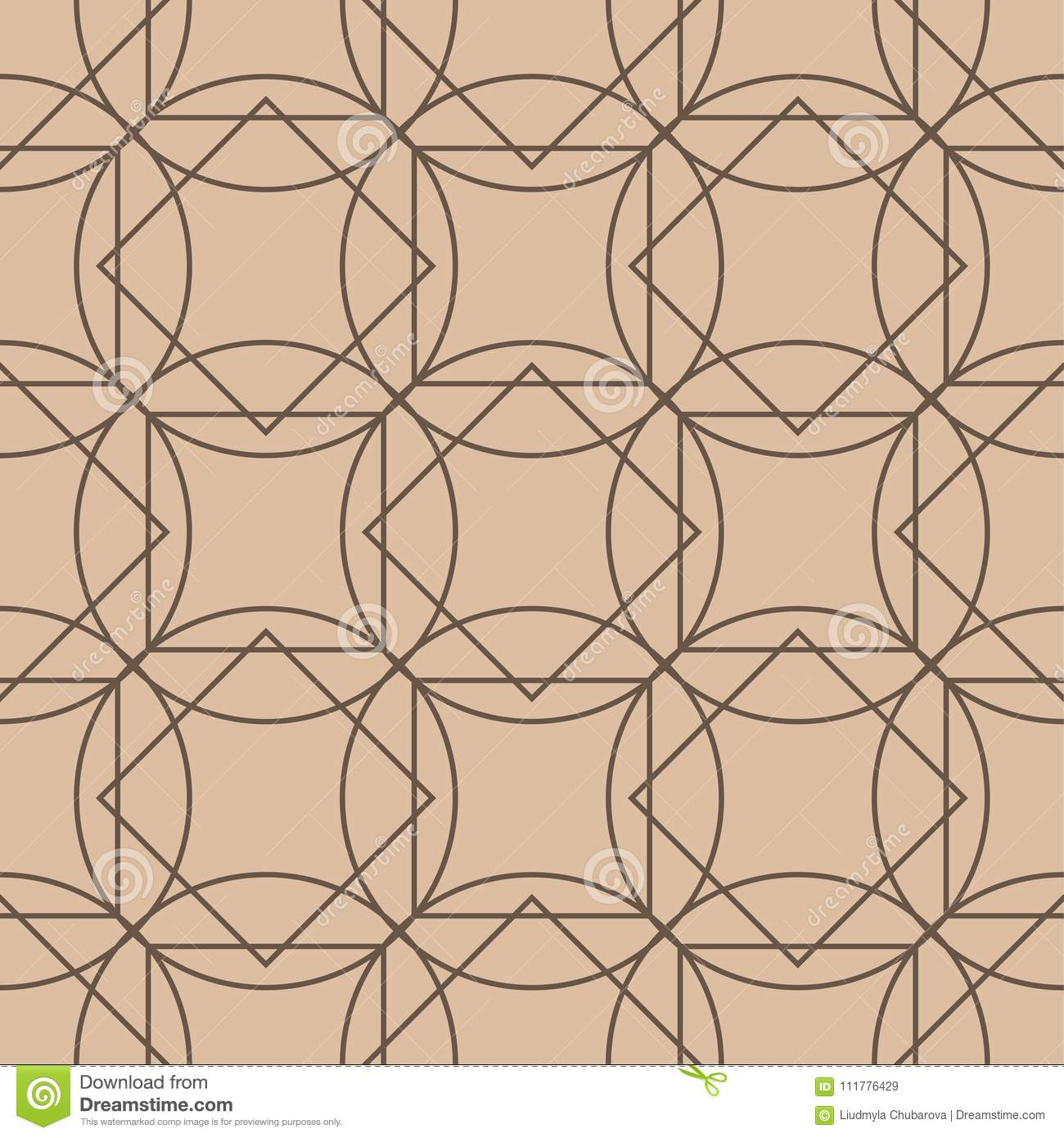 Beige and brown geometric ornament. Seamless pattern