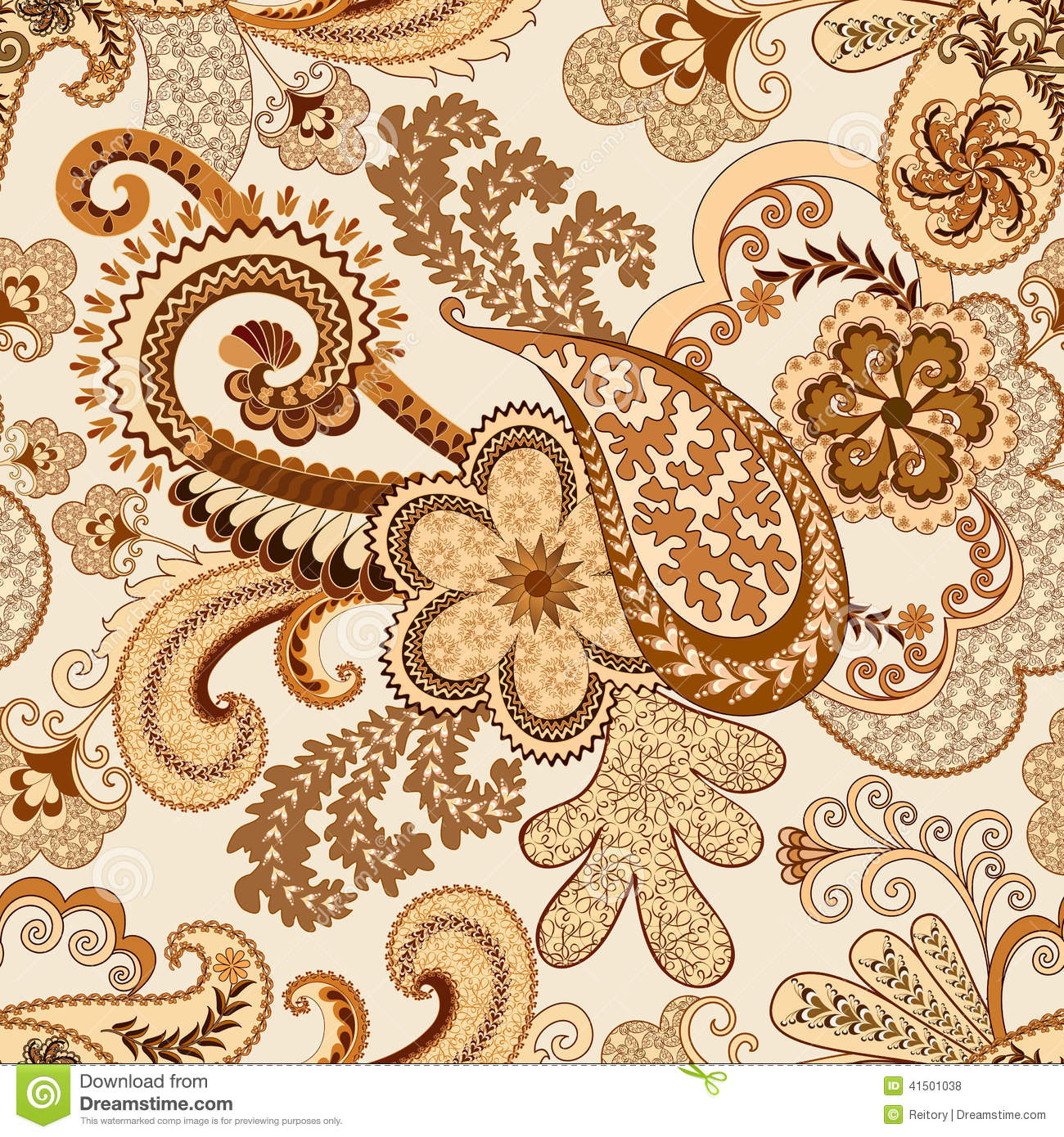 Beige Brown Paisley Decorated Openwork Pattern Stock Photo