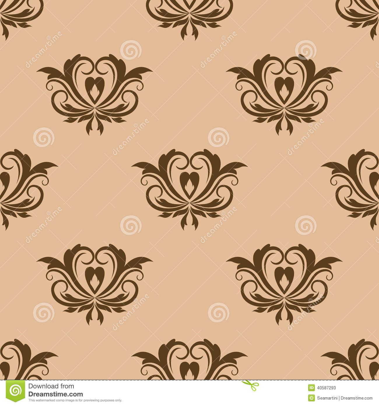 vintage floral brown css html beige and brown seamless pattern stock vector image
